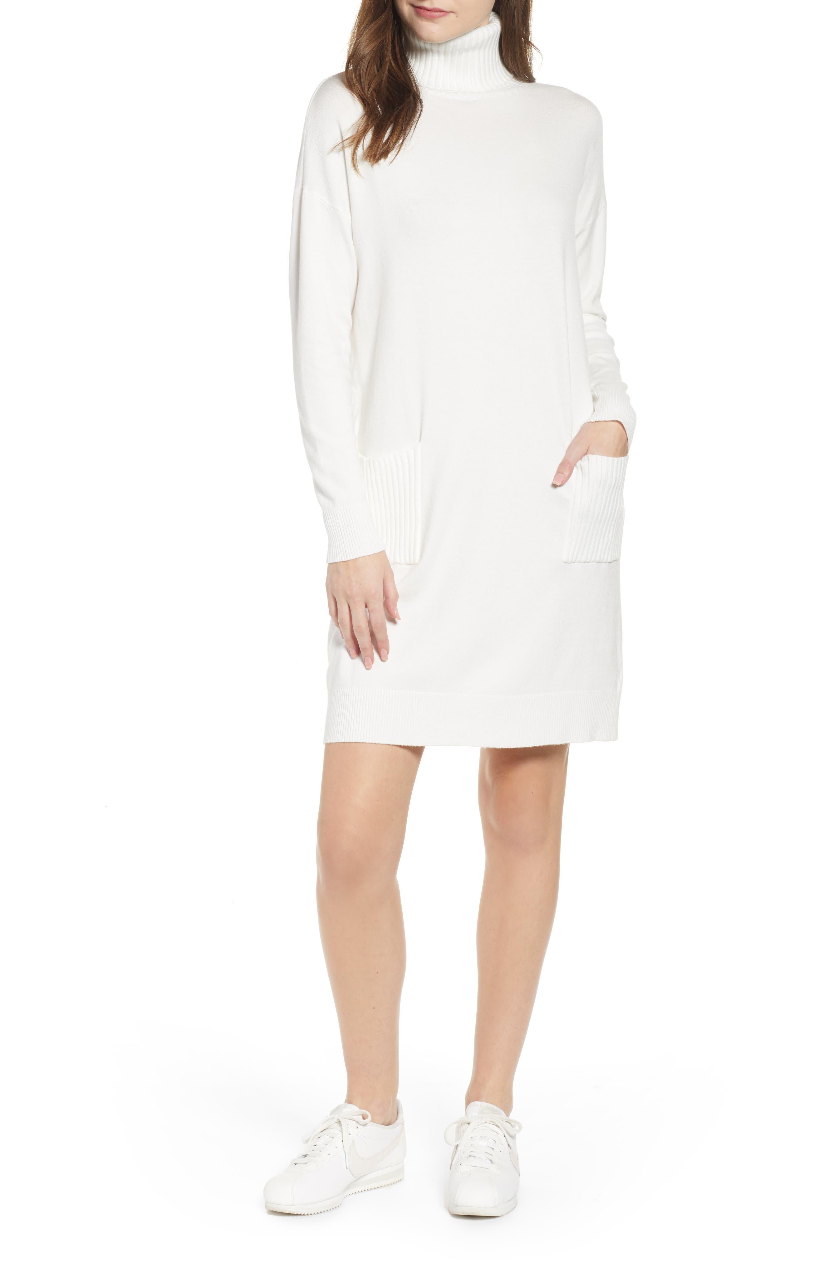 Turtleneck Sweater Dress,                             Main thumbnail 1, color,                             IVORY