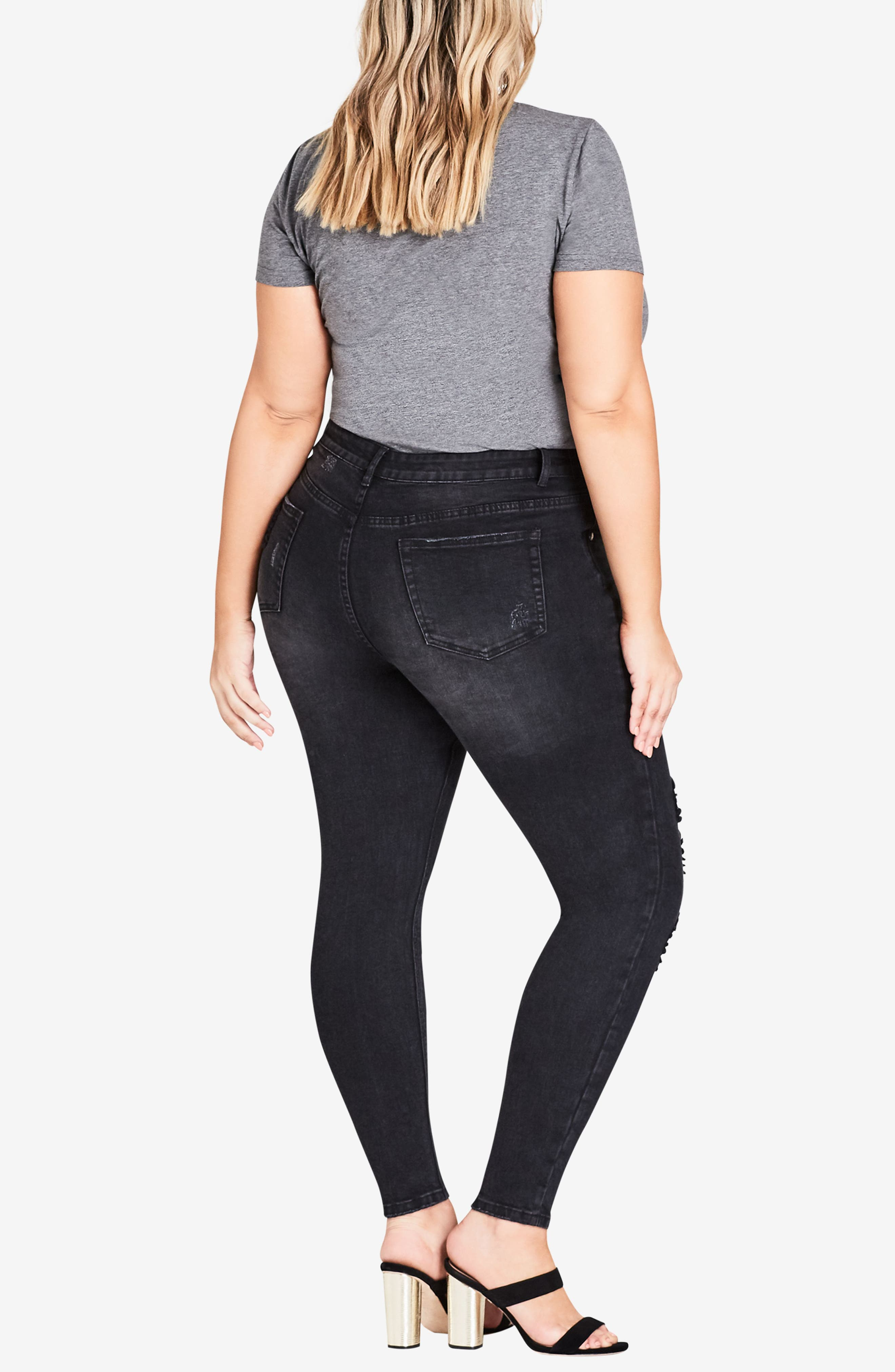 CITY CHIC,                             Fishnet Ripped Skinny Jeans,                             Alternate thumbnail 4, color,                             001