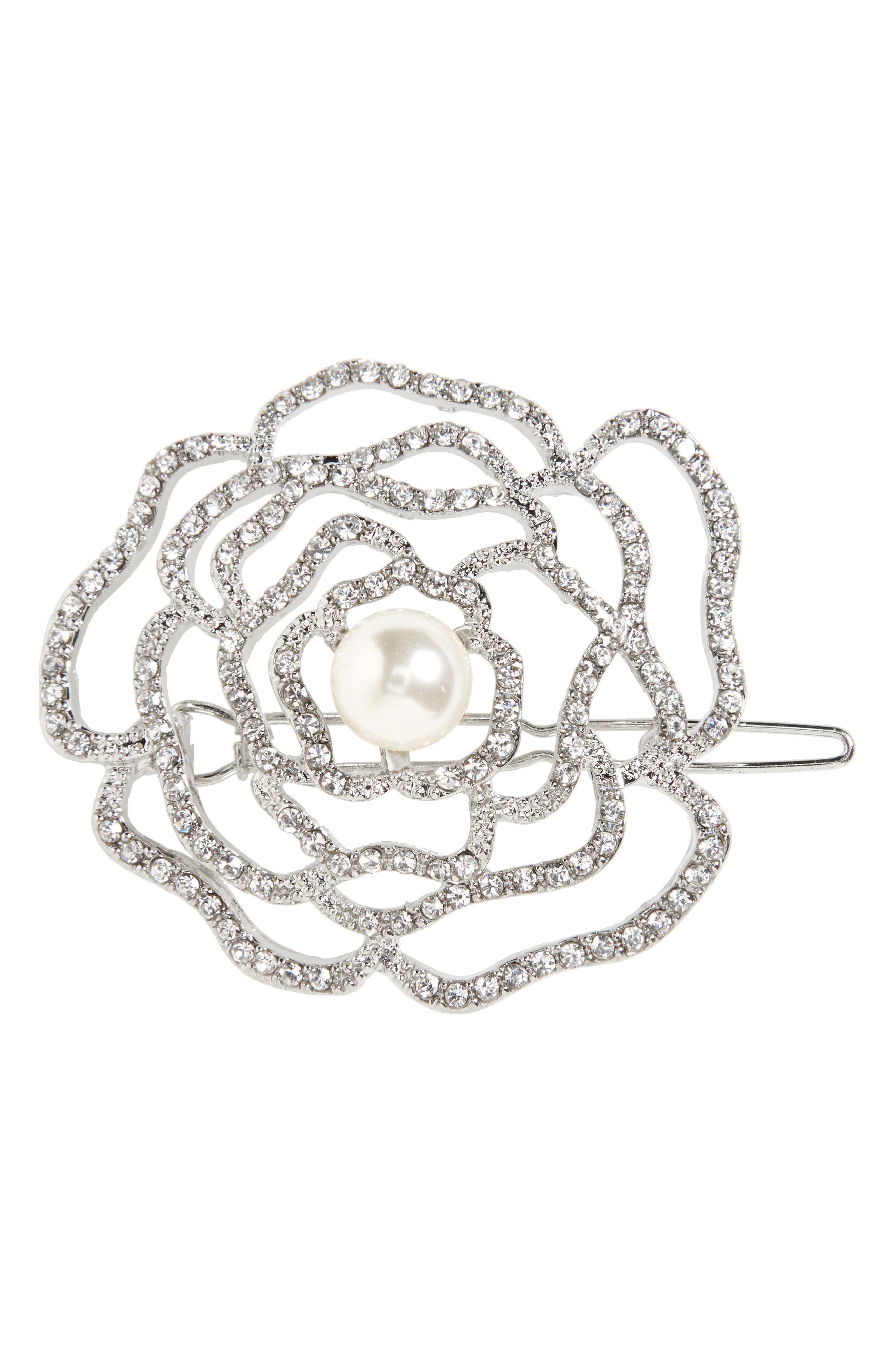 Crystal Rose Hair Clip,                         Main,                         color, 040