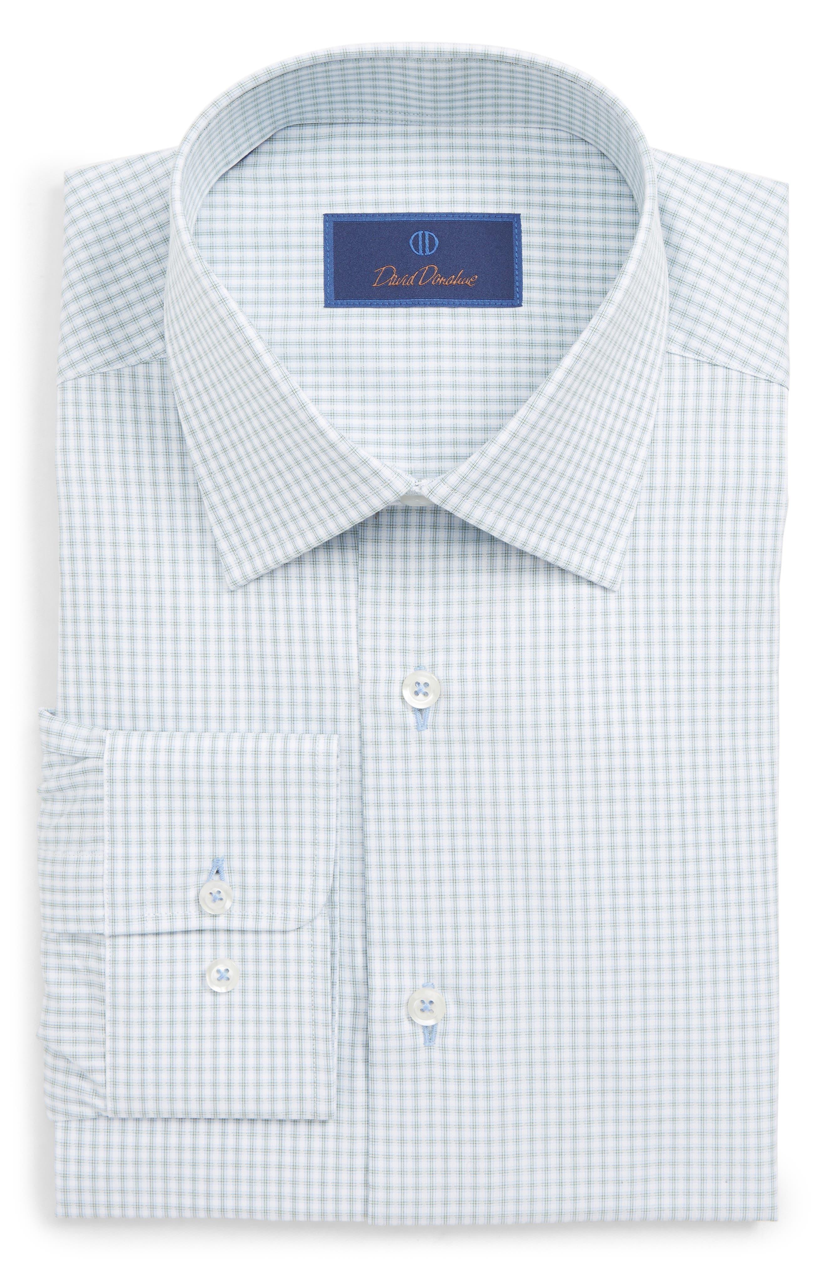 DAVID DONAHUE Men'S Regular-Fit Textured Plaid Dress Shirt in Grass