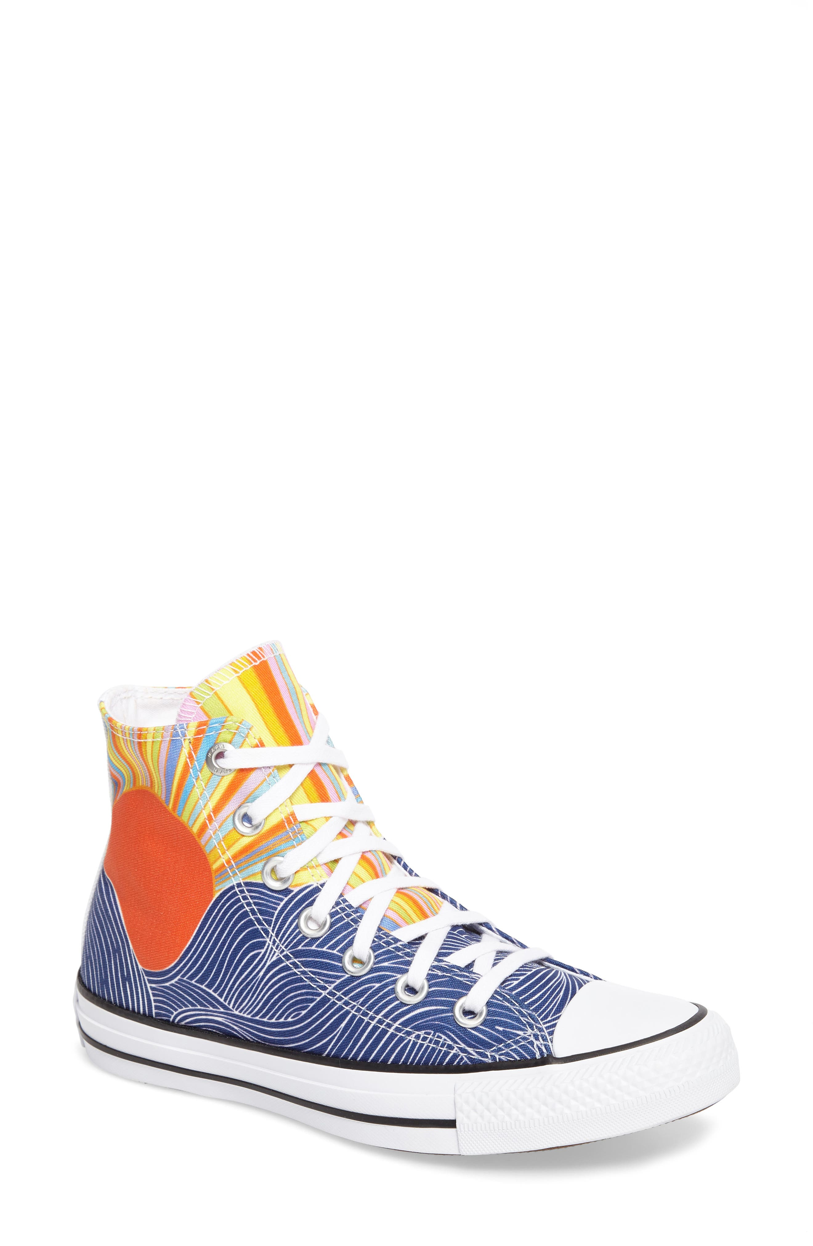 x Mara Hoffman All Star<sup>®</sup> Embroidered High Top Sneaker,                         Main,                         color,