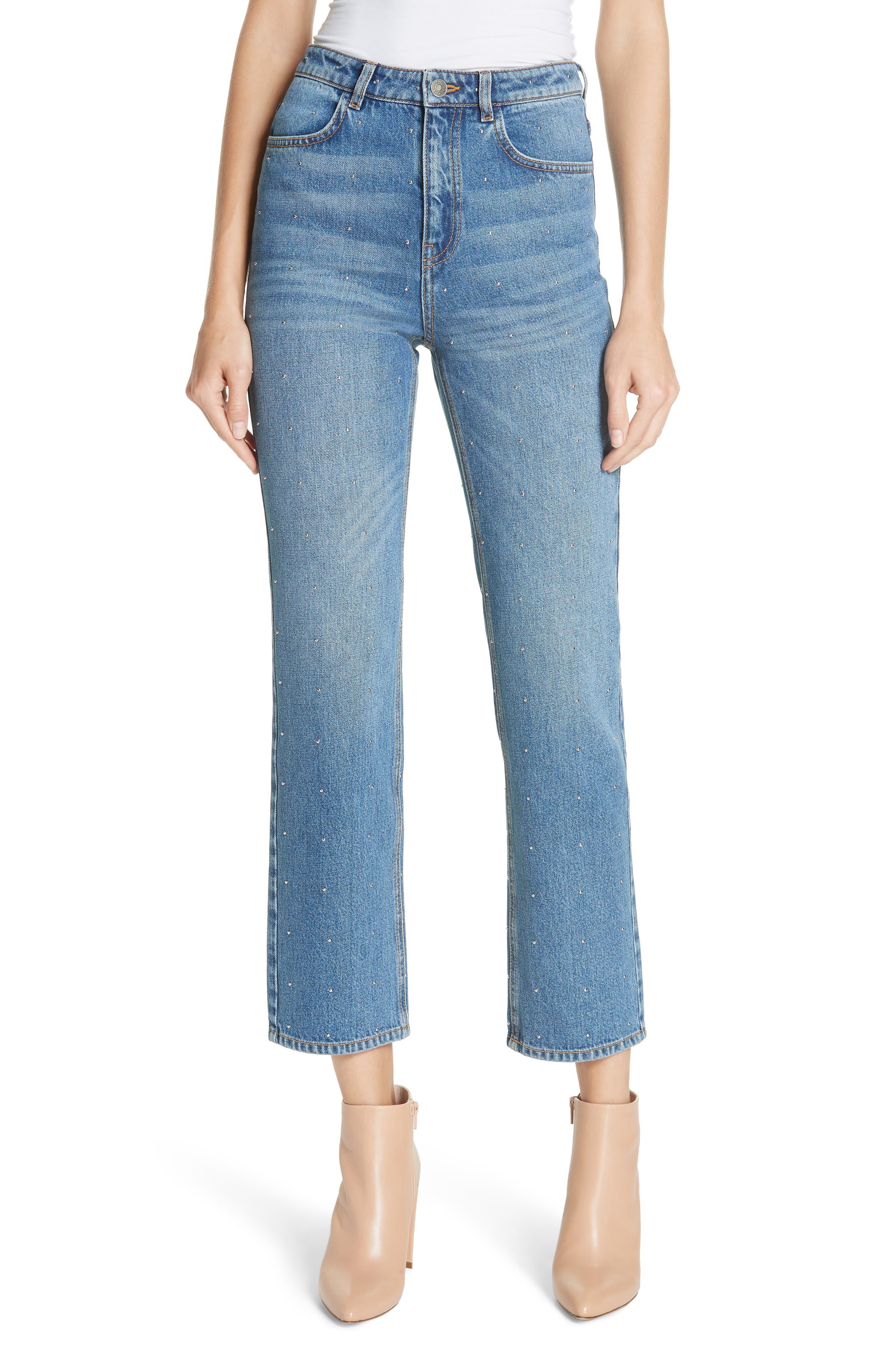 Malone Studded Straight Leg Jeans in Vintage Indigo/ Silver