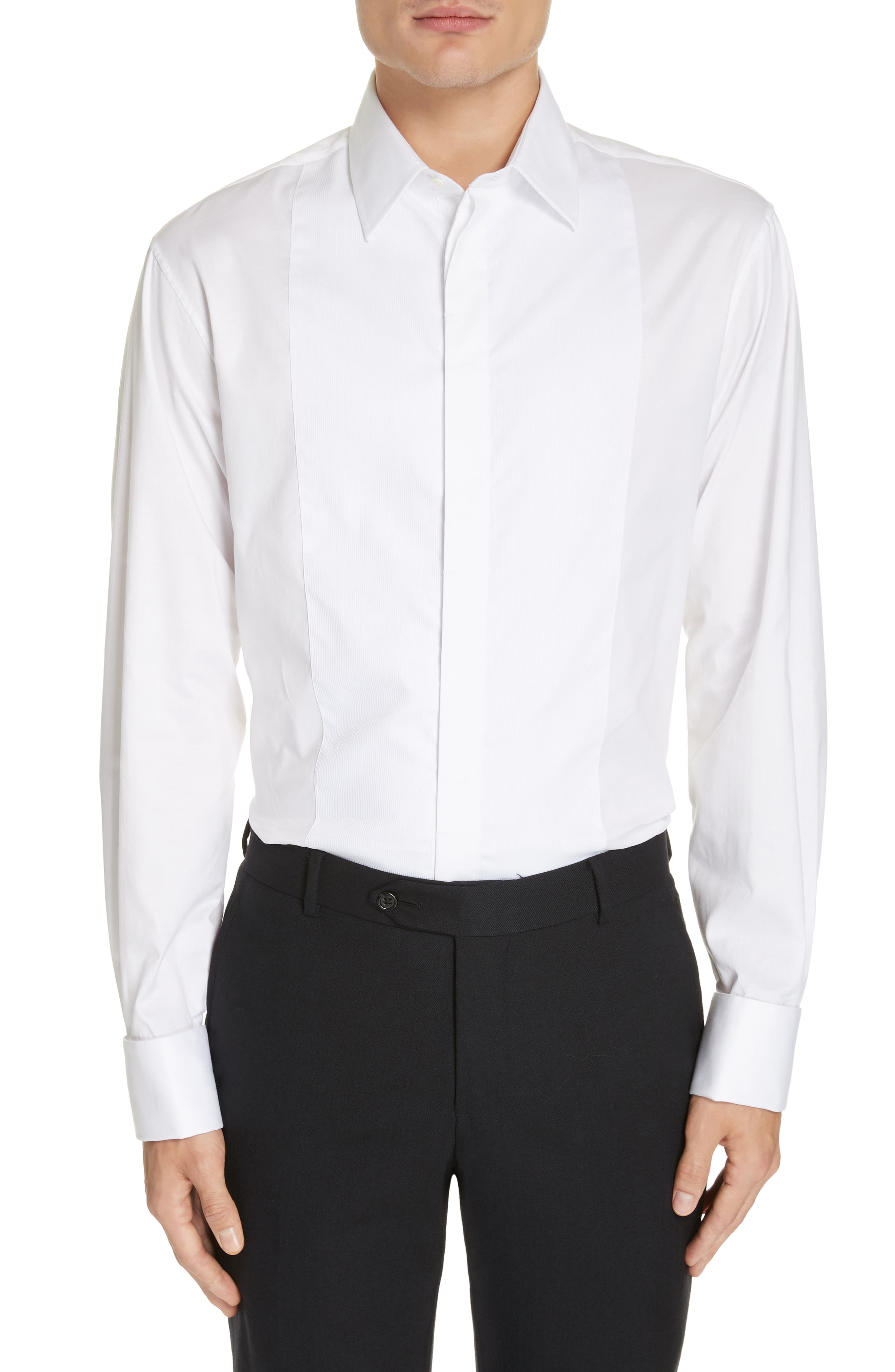 Trim Fit Stretch Tuxedo Shirt,                             Main thumbnail 1, color,                             SOLID WHITE