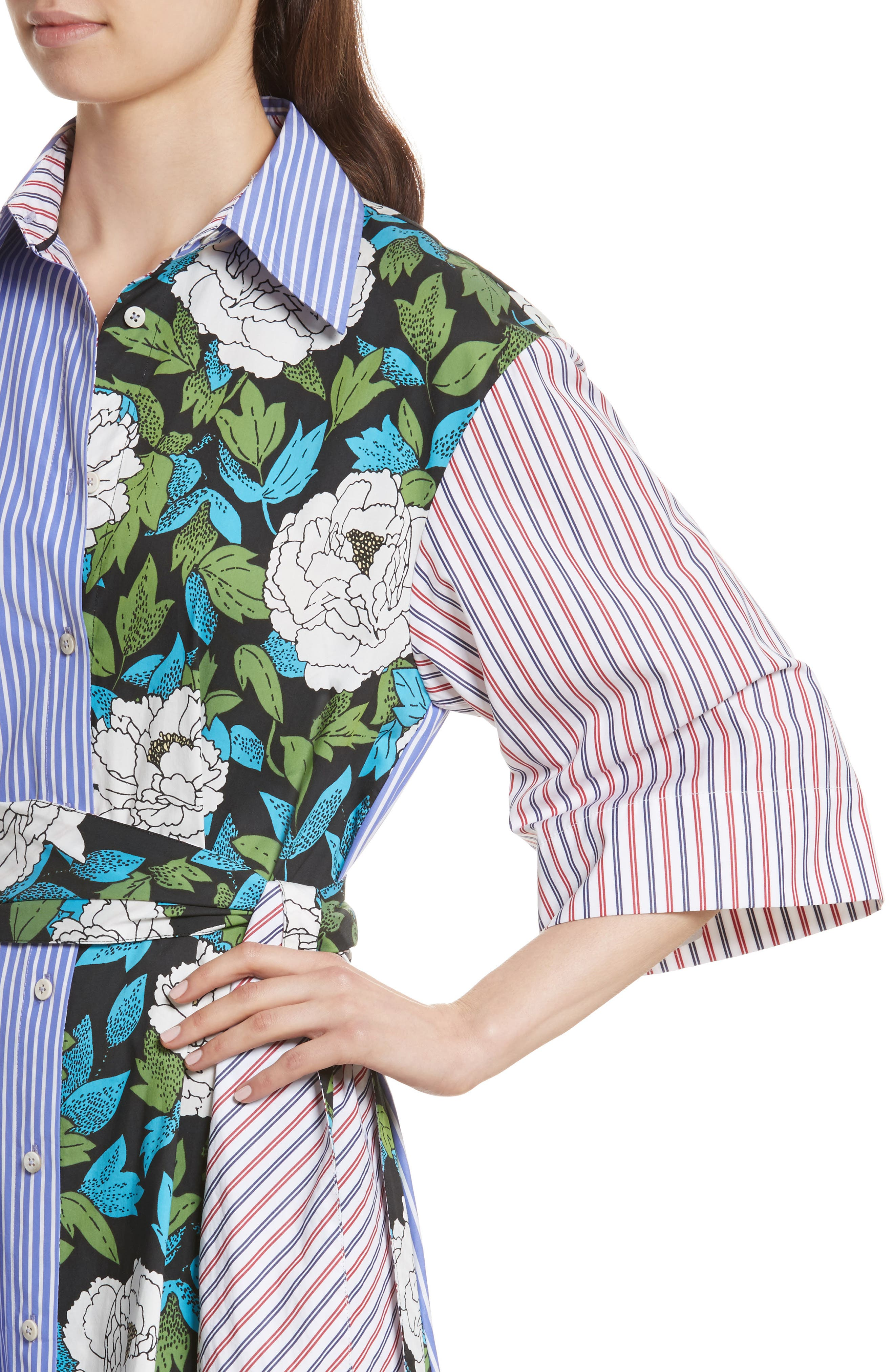Diane von Furstenberg Mixed Print Cotton Shirtdress,                             Alternate thumbnail 4, color,