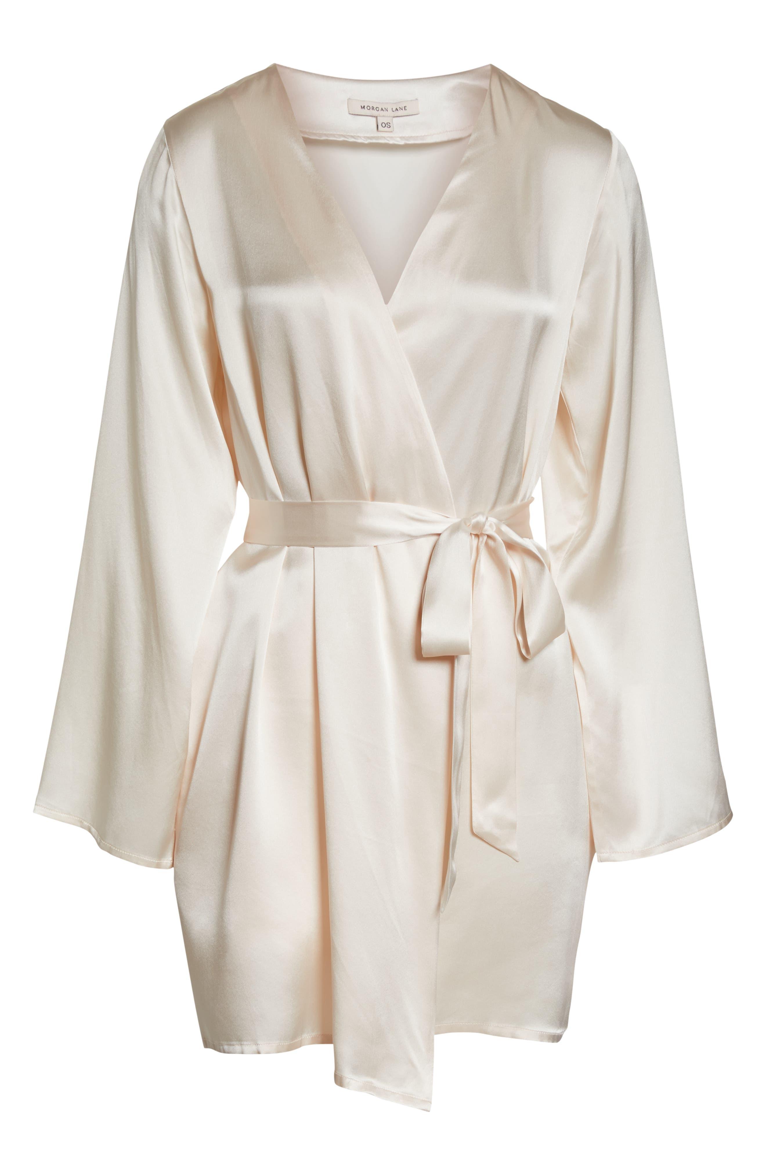 Silk Robe,                             Alternate thumbnail 6, color,                             VANILLA