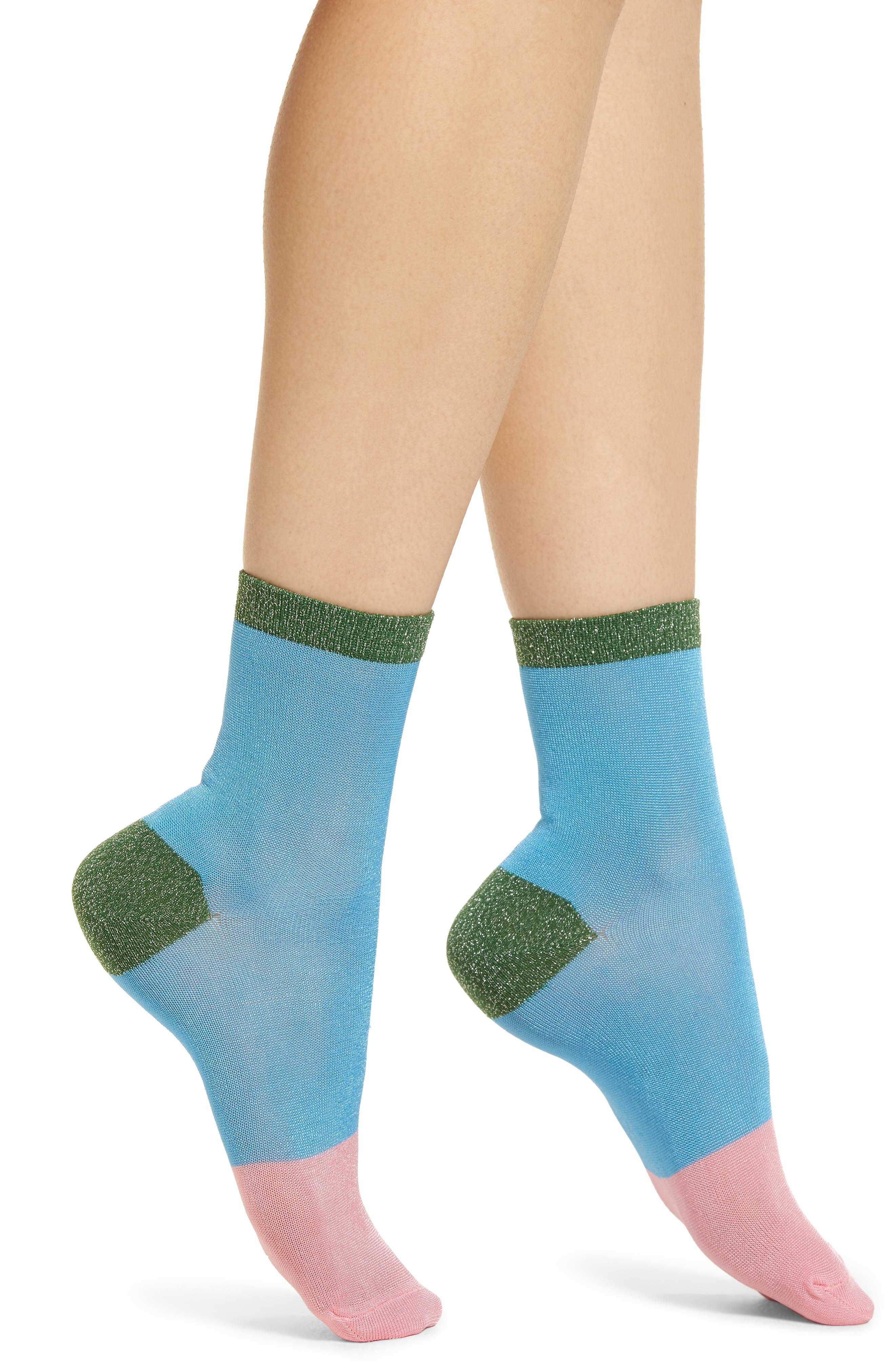 Liza Sparkle Ankle Socks,                         Main,                         color, BLUE
