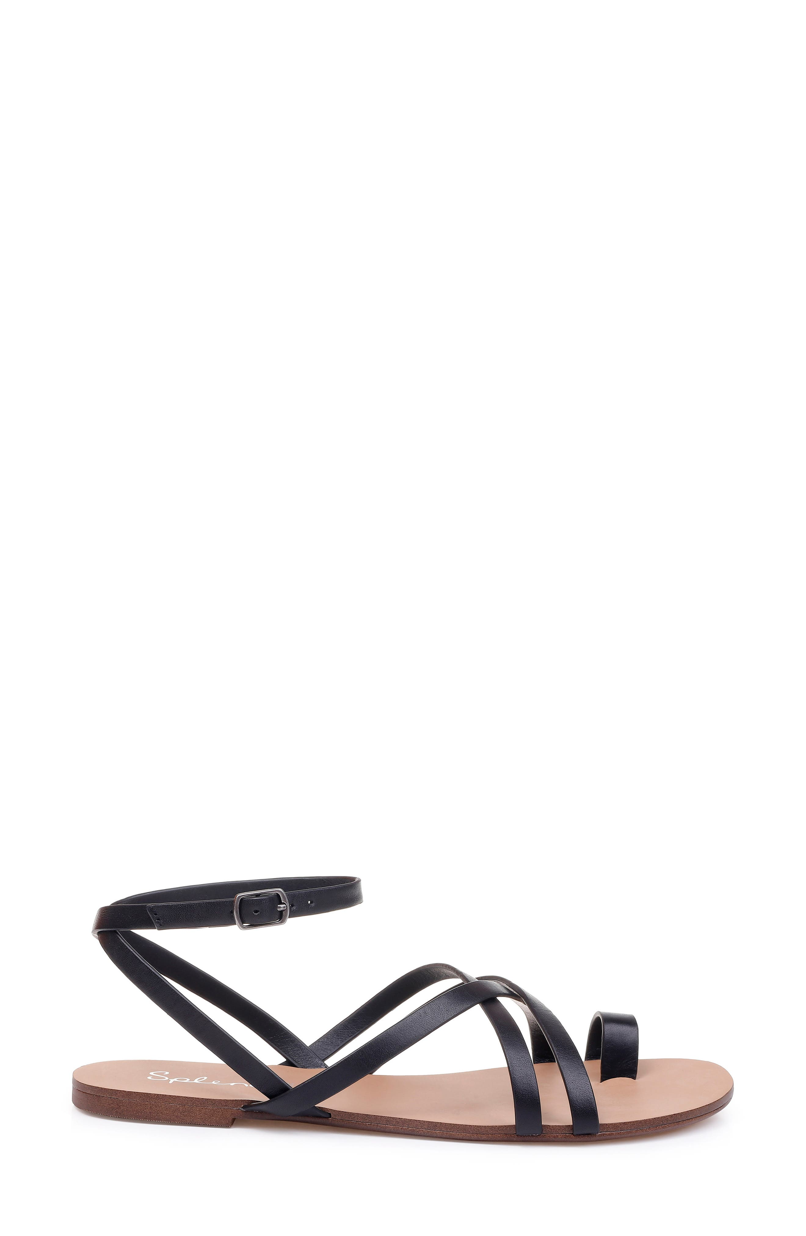 Sully Strappy Toe Loop Sandal,                             Alternate thumbnail 3, color,                             BLACK LEATHER