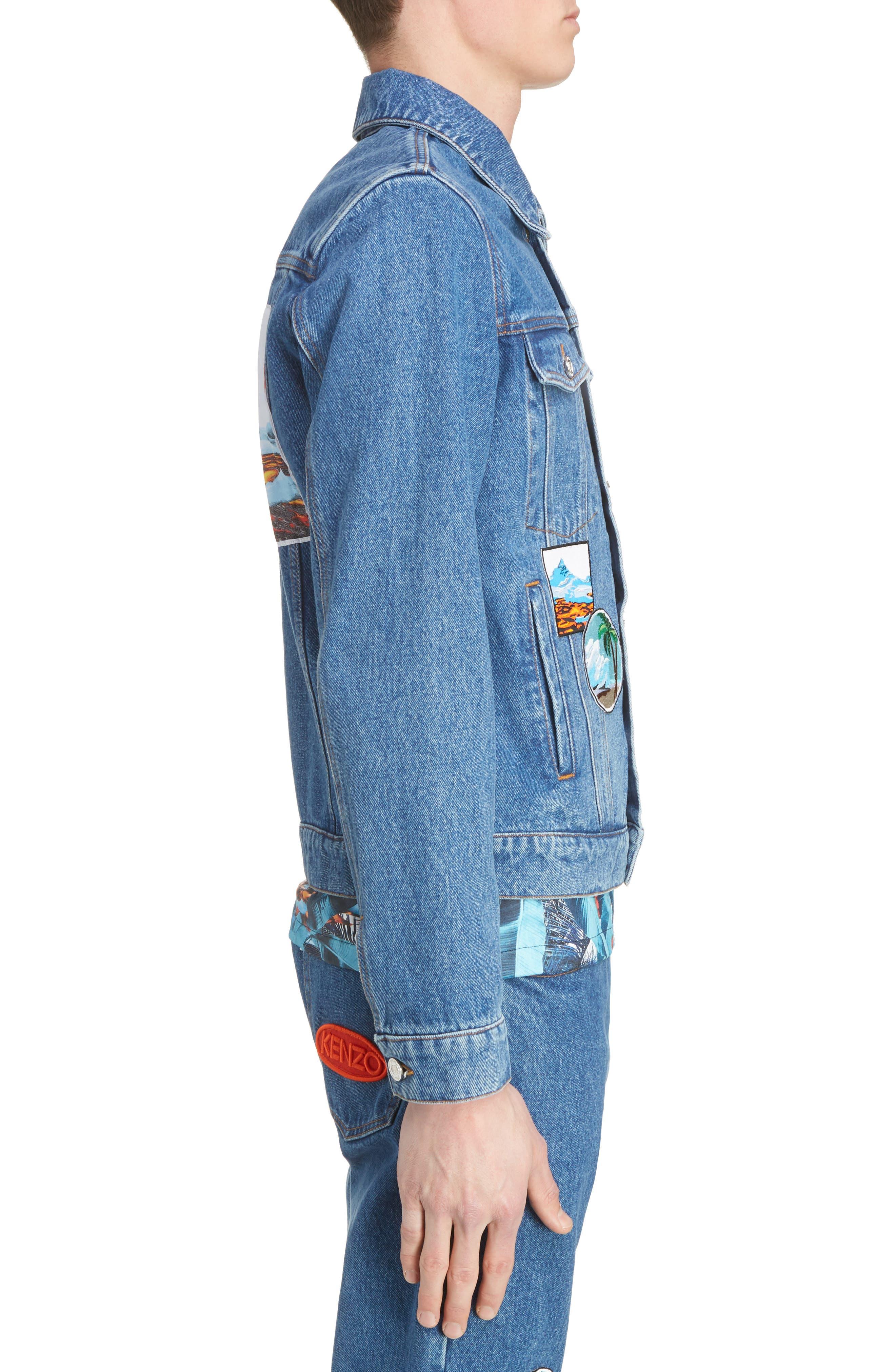 Denim Patch Jacket,                             Alternate thumbnail 3, color,                             402