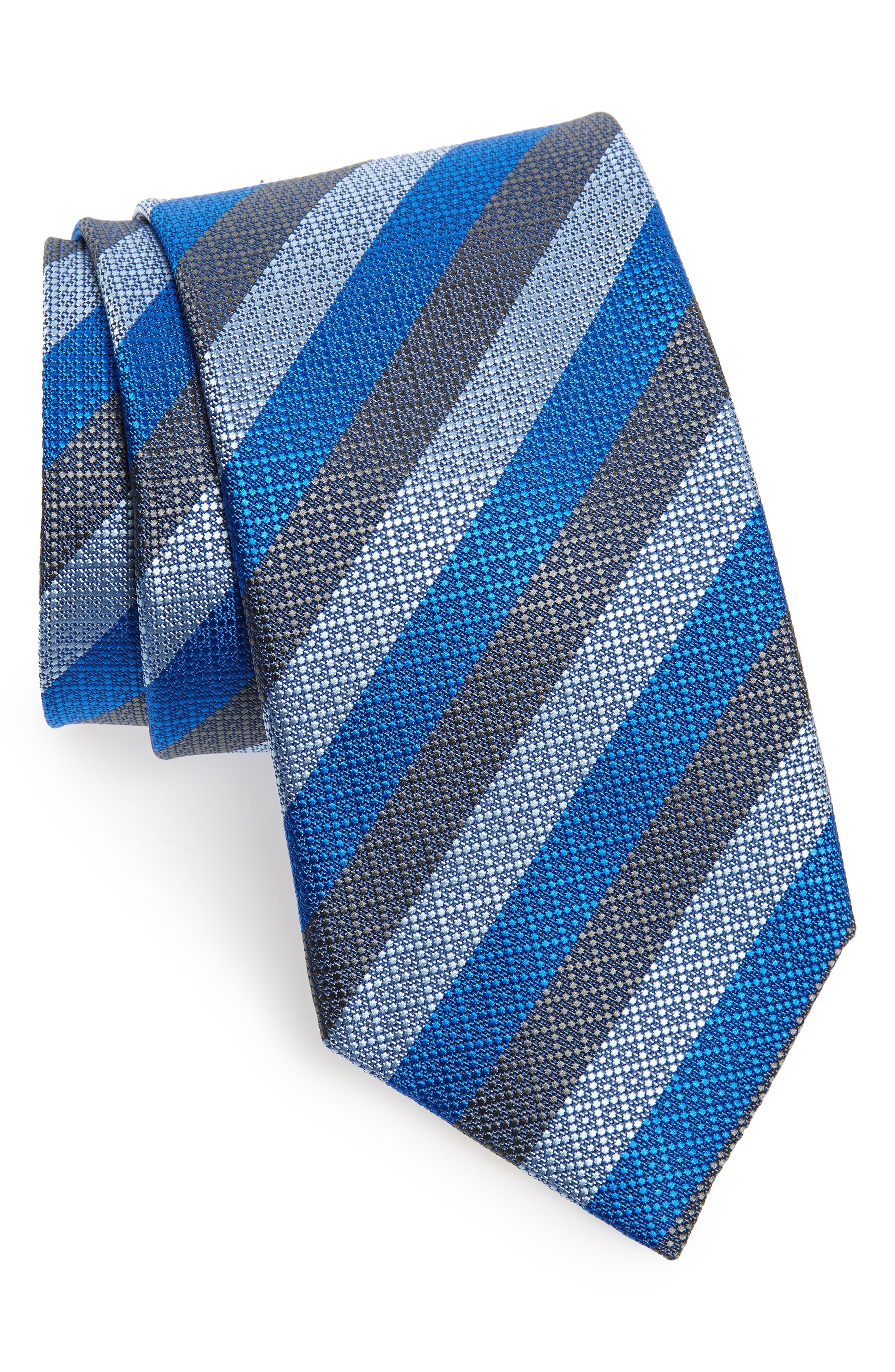 Stripe Silk Tie,                         Main,                         color, CHARCOAL