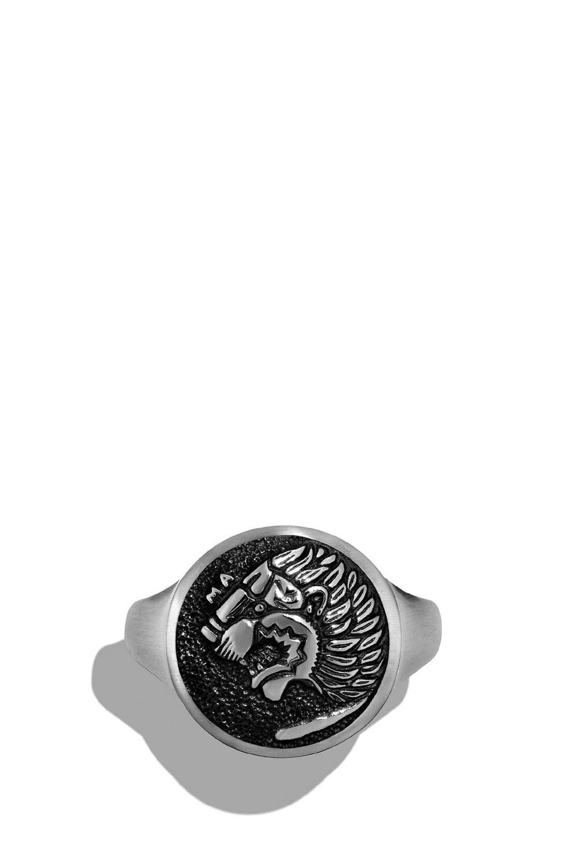 'Petrvs' Lion Signet Pinky Ring,                             Alternate thumbnail 3, color,                             SILVER
