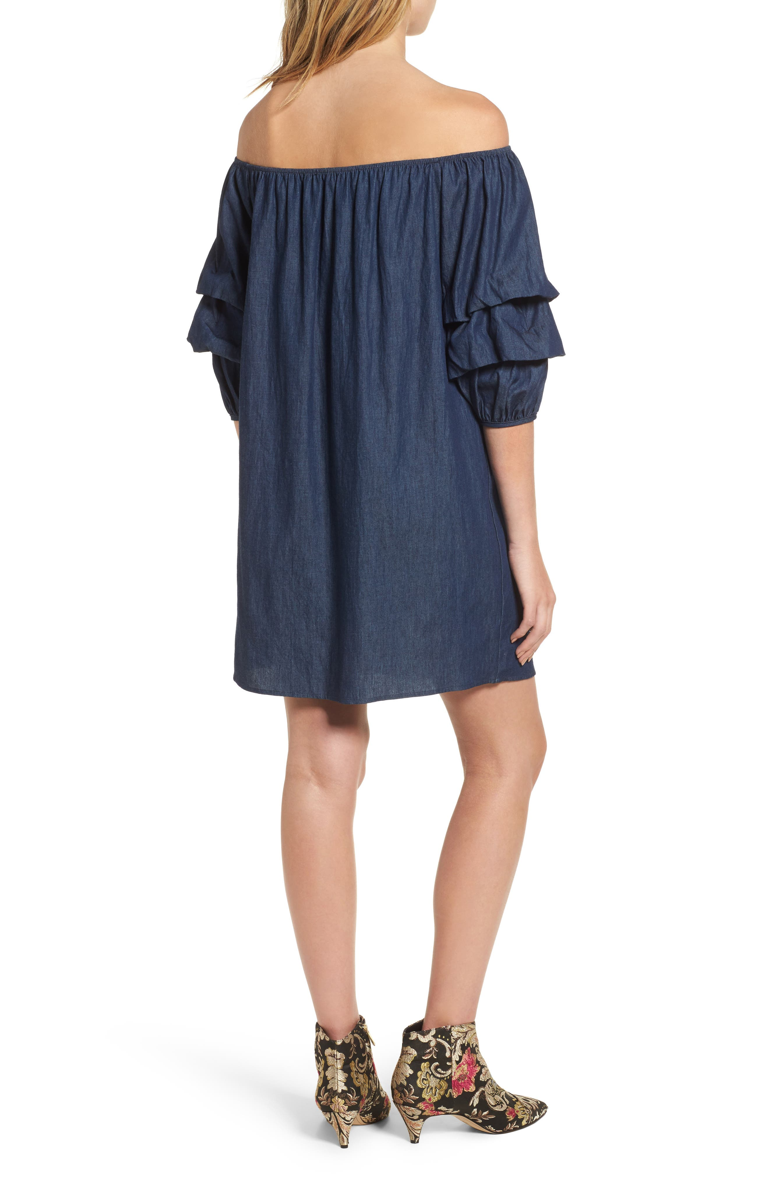 Off the Shoulder Denim Dress,                             Alternate thumbnail 2, color,                             401