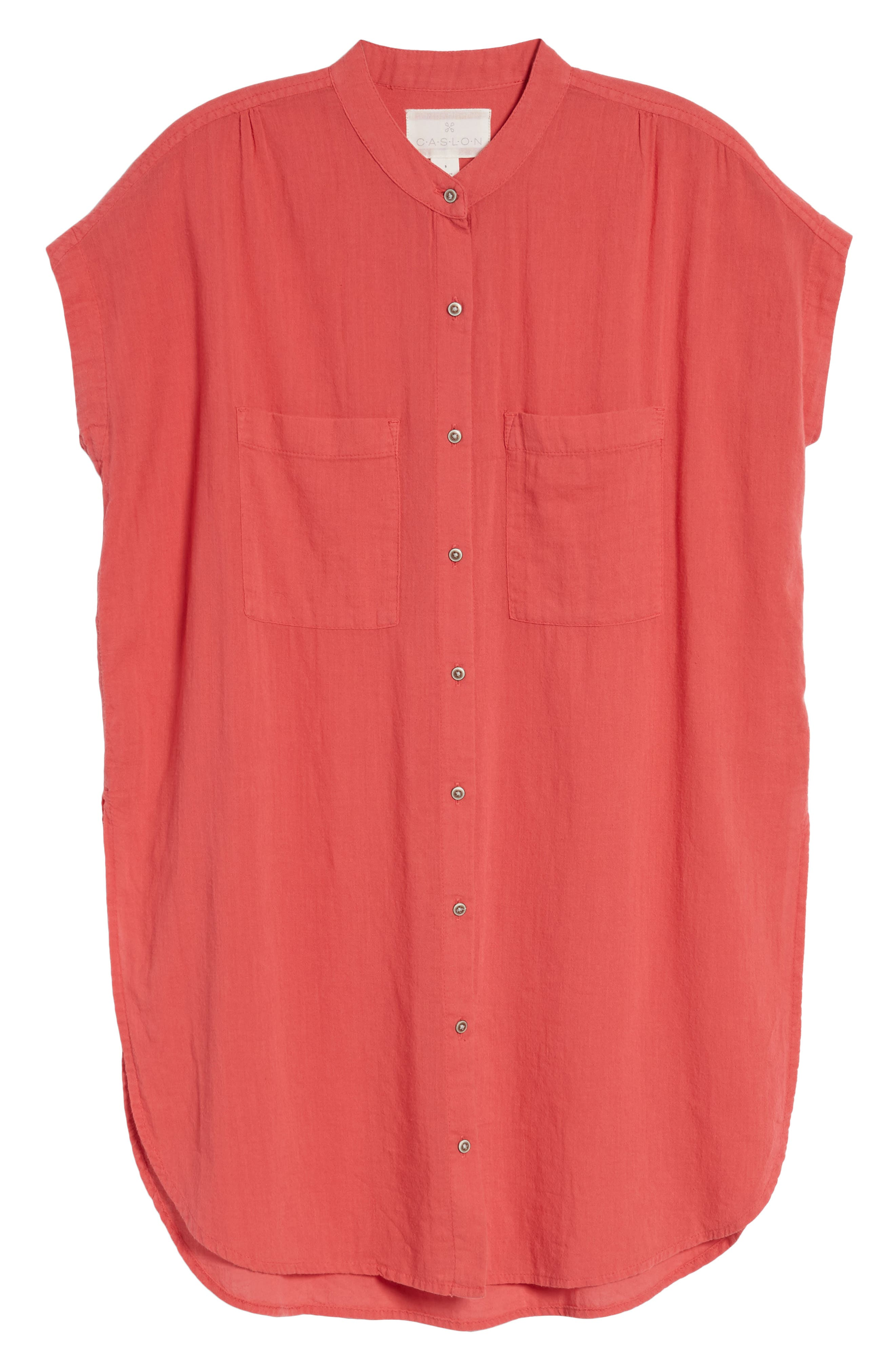 Button Front Longline Top,                             Alternate thumbnail 49, color,