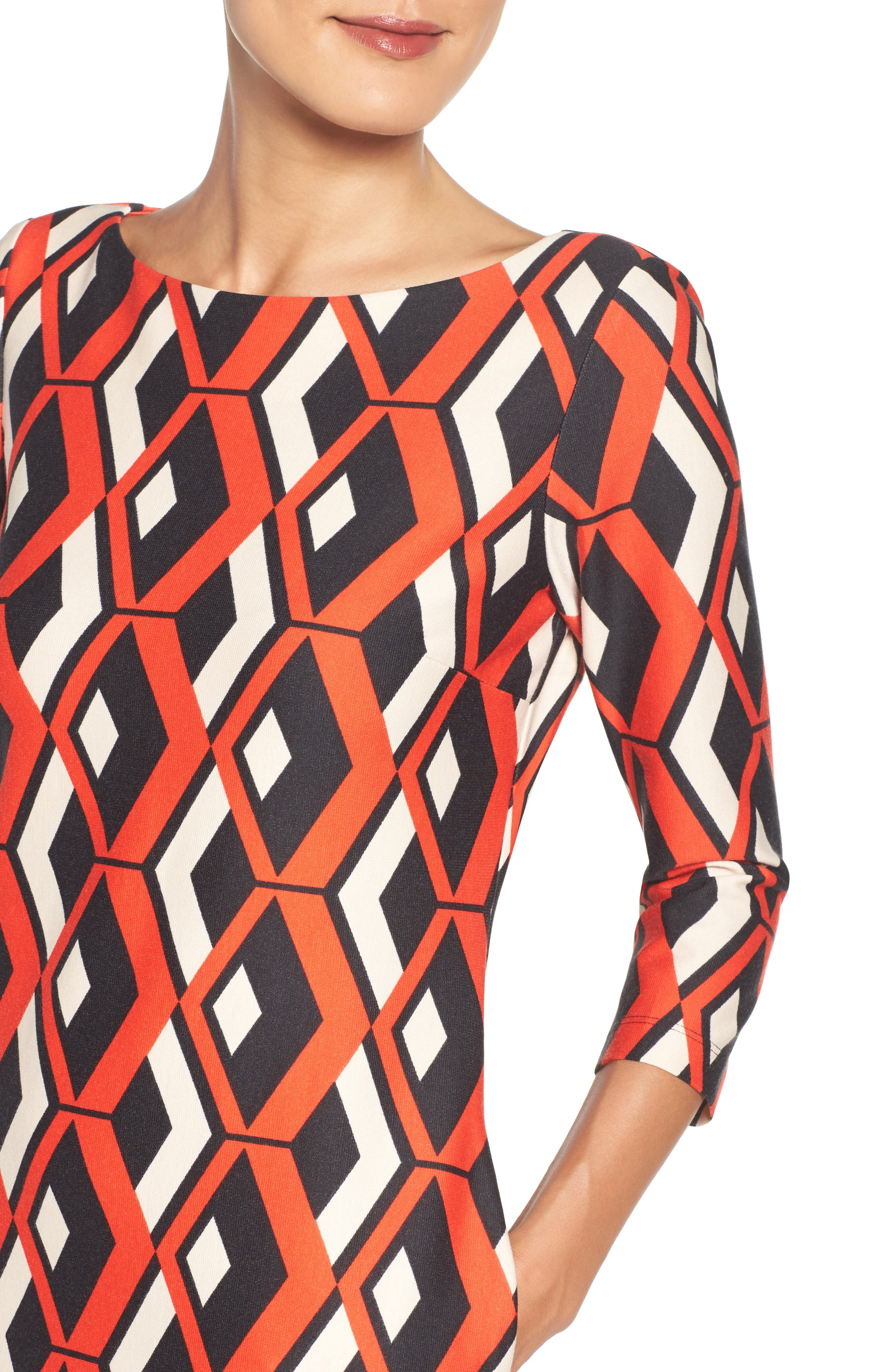 Geo Print Shift Dress,                             Alternate thumbnail 4, color,                             628