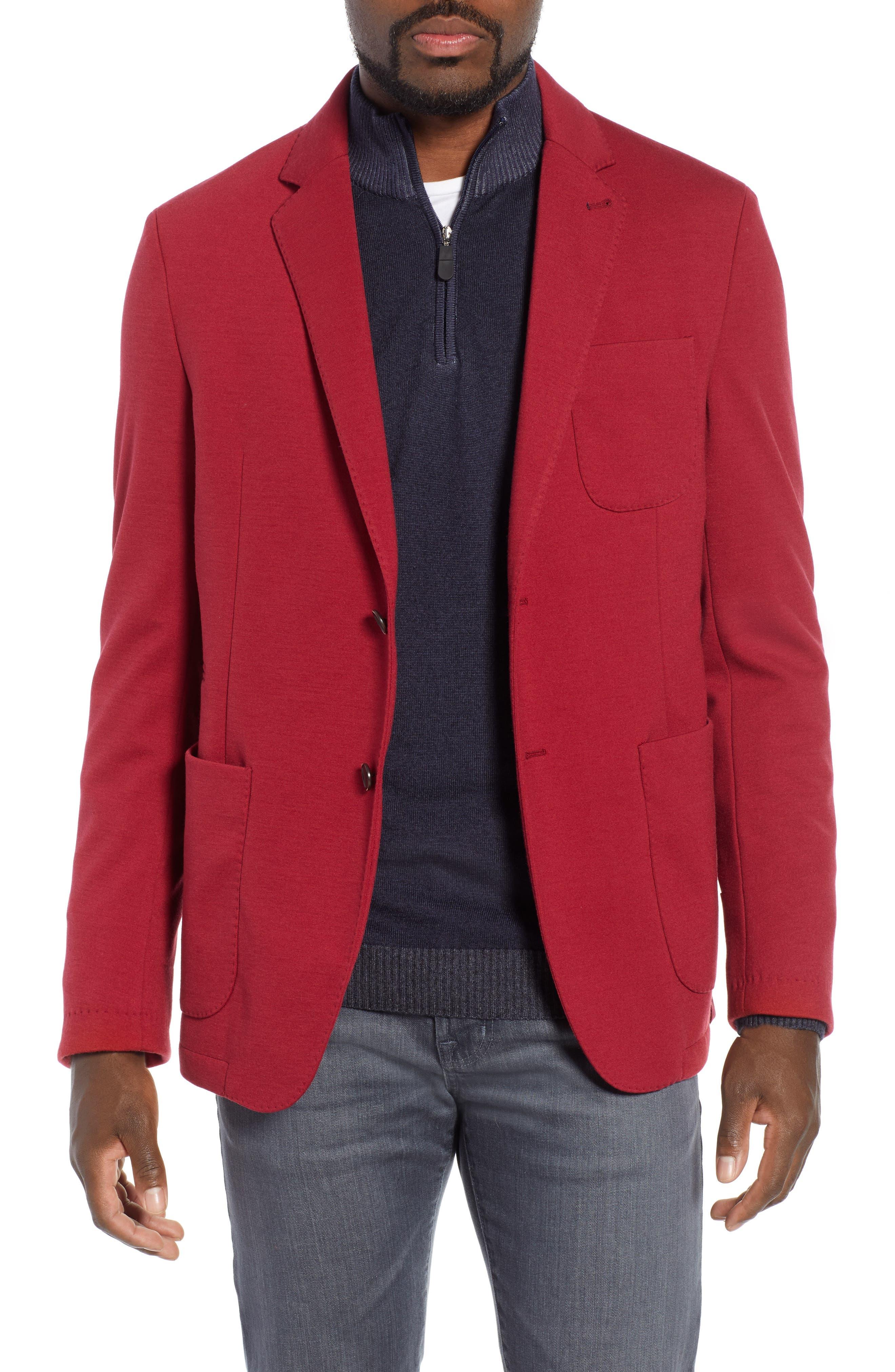 BUGATCHI Solid Sport Coat in Crimson