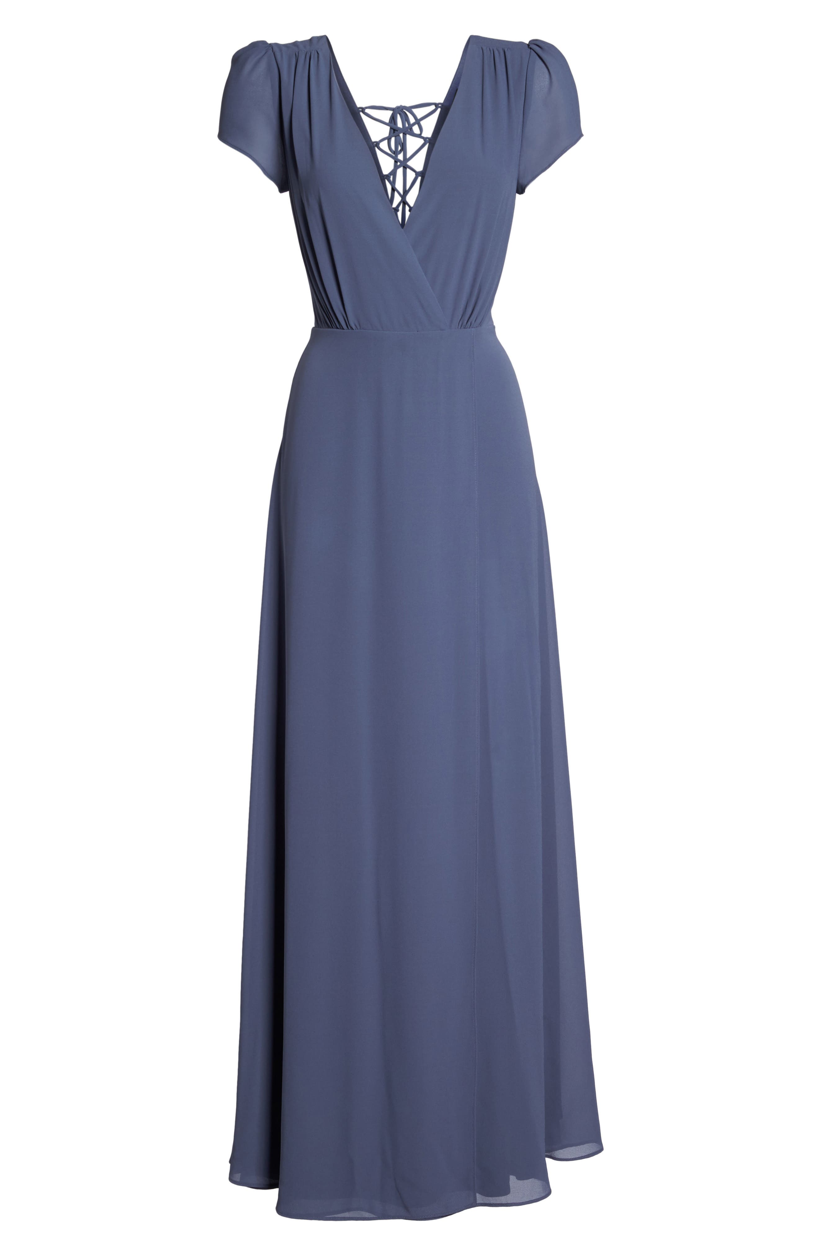 Lace-Up Back Chiffon Gown,                             Alternate thumbnail 6, color,                             400