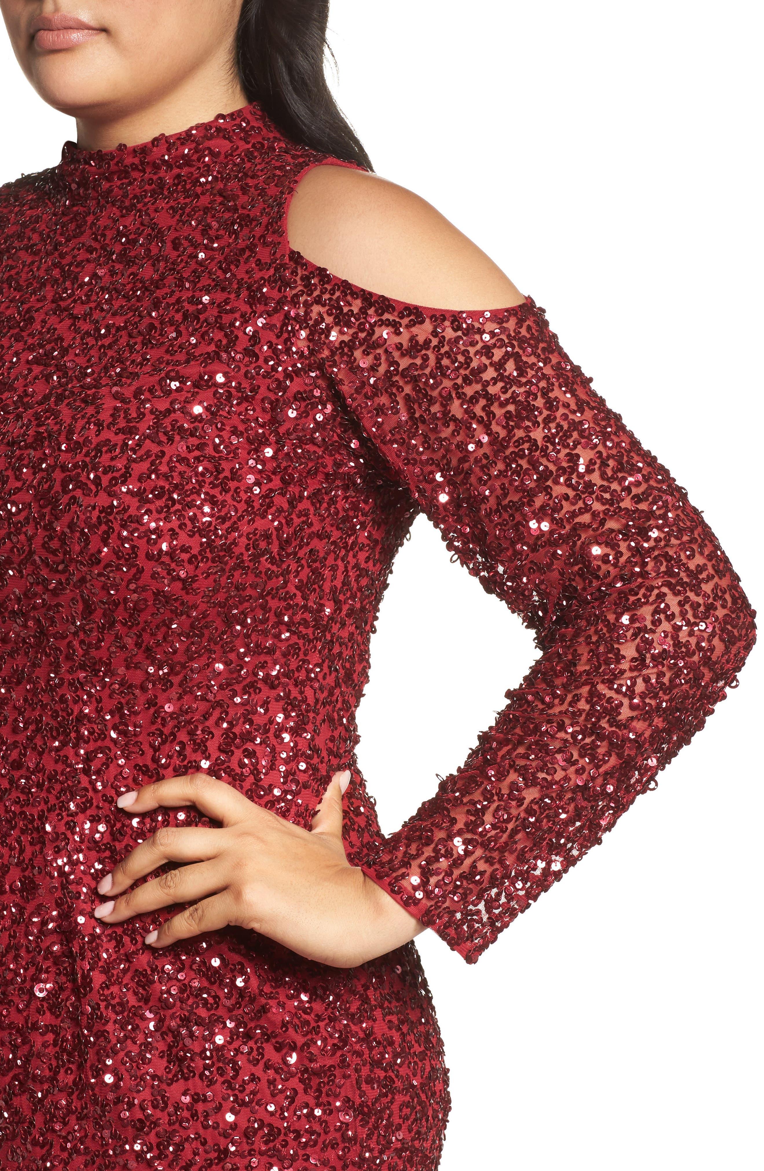 Cold Shoulder Beaded Sheath Dress,                             Alternate thumbnail 4, color,                             601