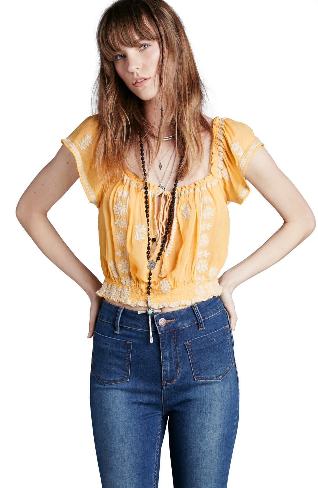 FREE PEOPLE,                             'Paisley Park' Peasant Top,                             Alternate thumbnail 6, color,                             771