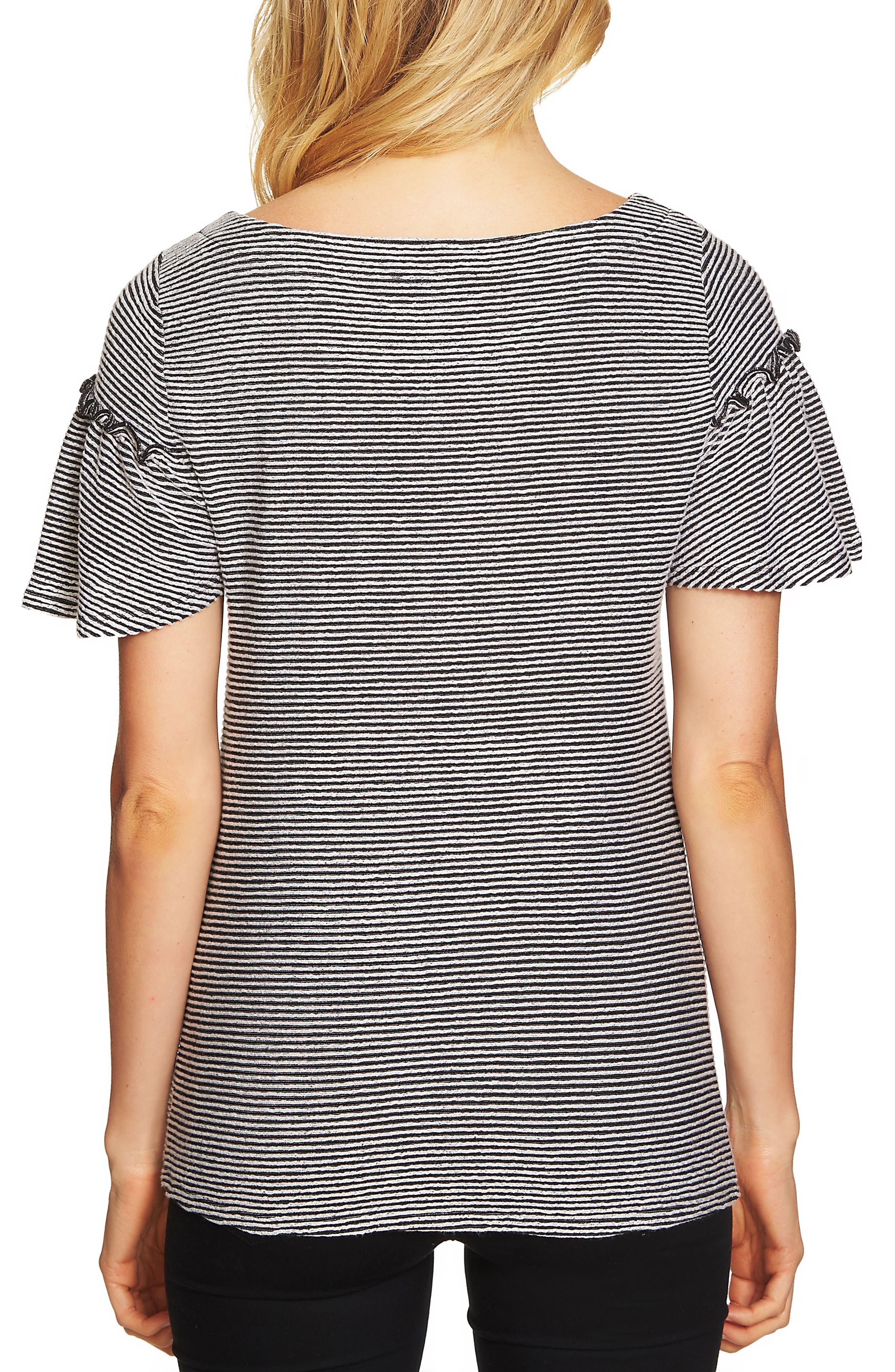 Flare Sleeve Stripe Rib Knit Top,                             Alternate thumbnail 2, color,                             001