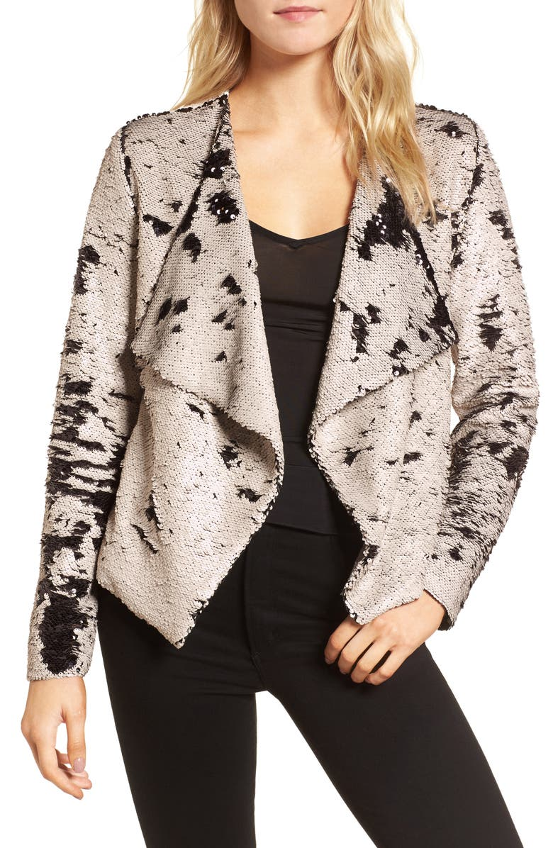973d38eef84 cupcakes and cashmere Bellwood Sequin Drape Front Jacket