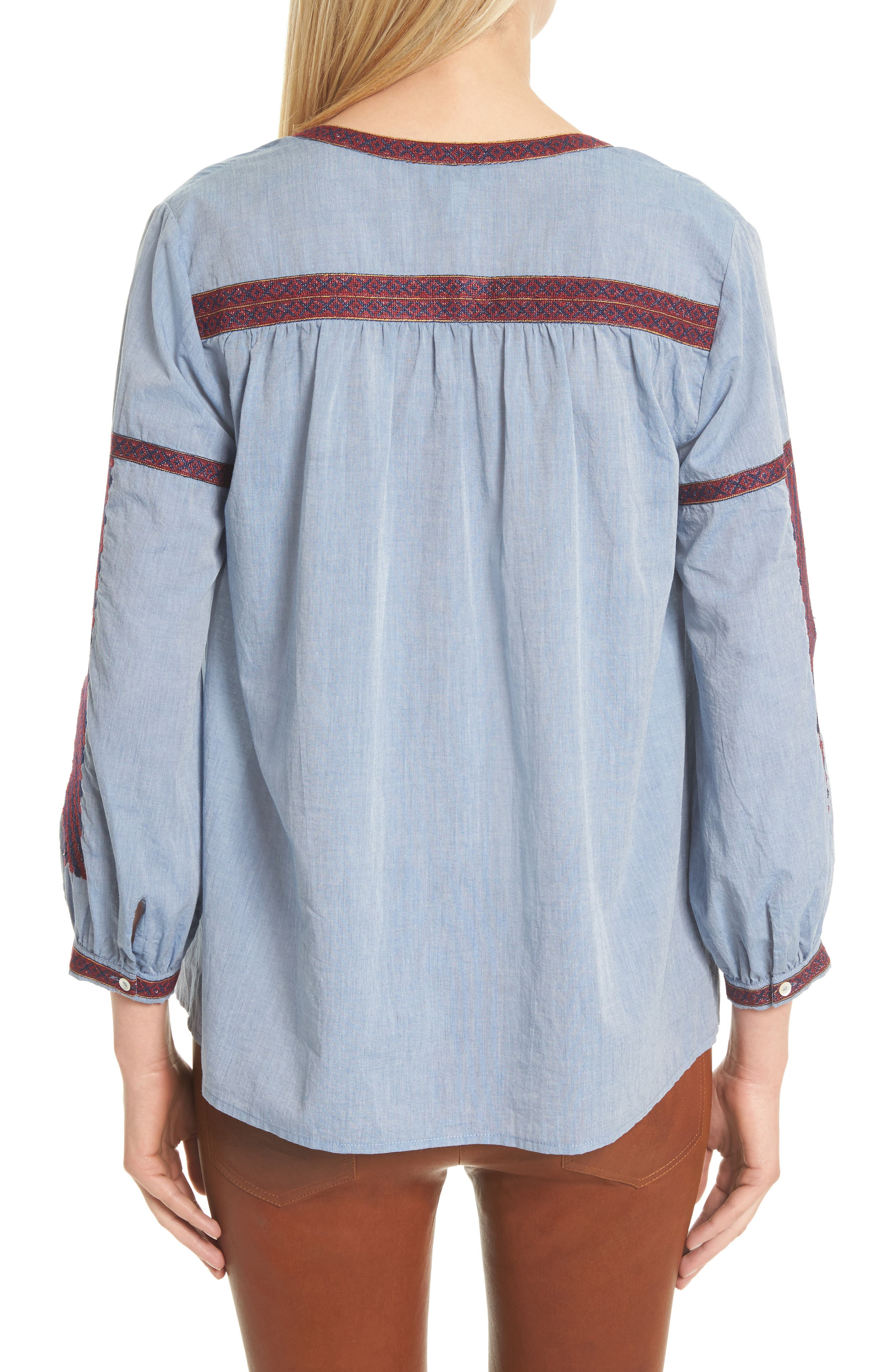 Marlen Embroidered Chambray Top,                             Alternate thumbnail 2, color,                             470
