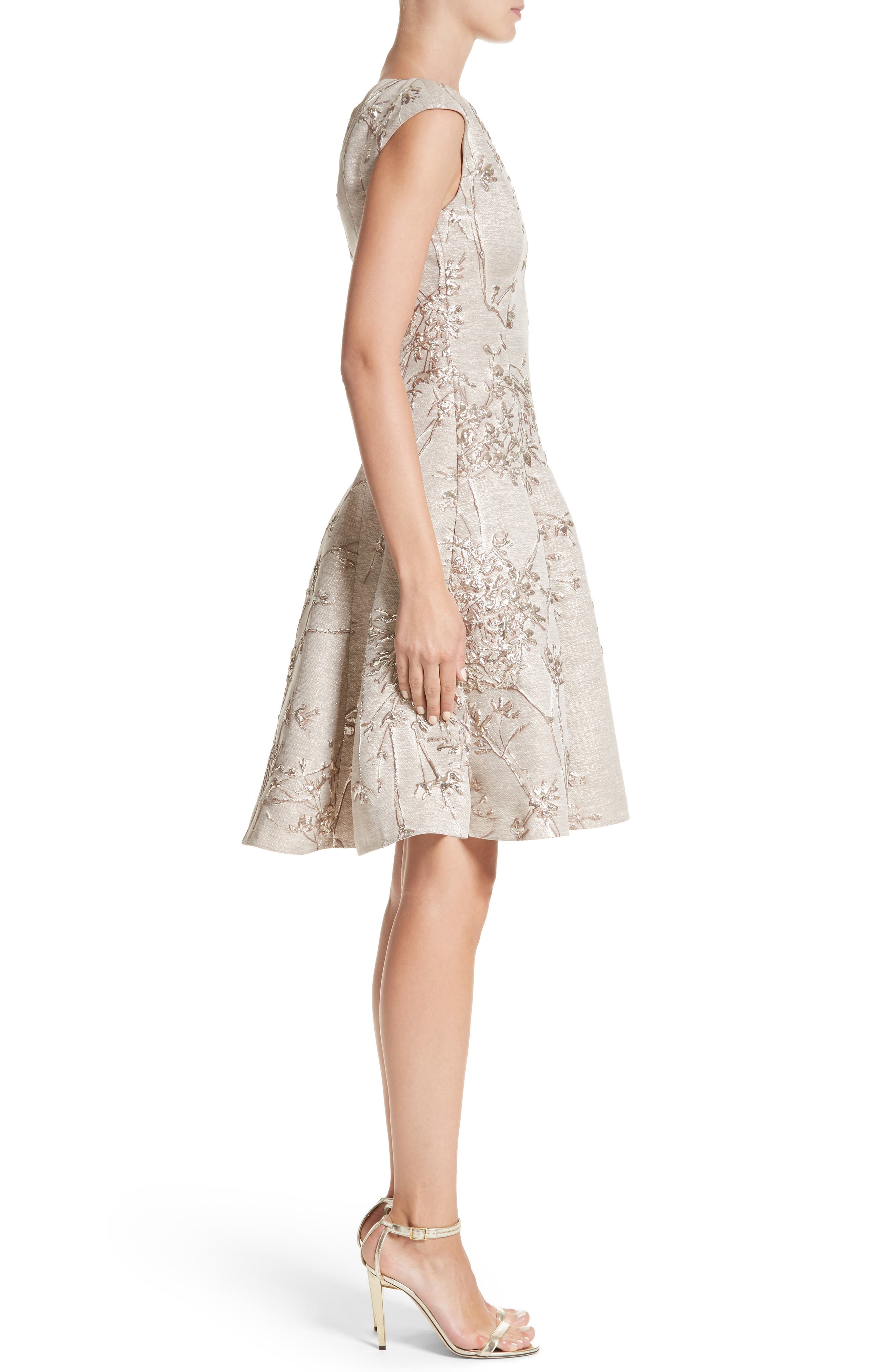 Metallic Twig Jacquard Dress,                             Alternate thumbnail 3, color,                             PLATIN