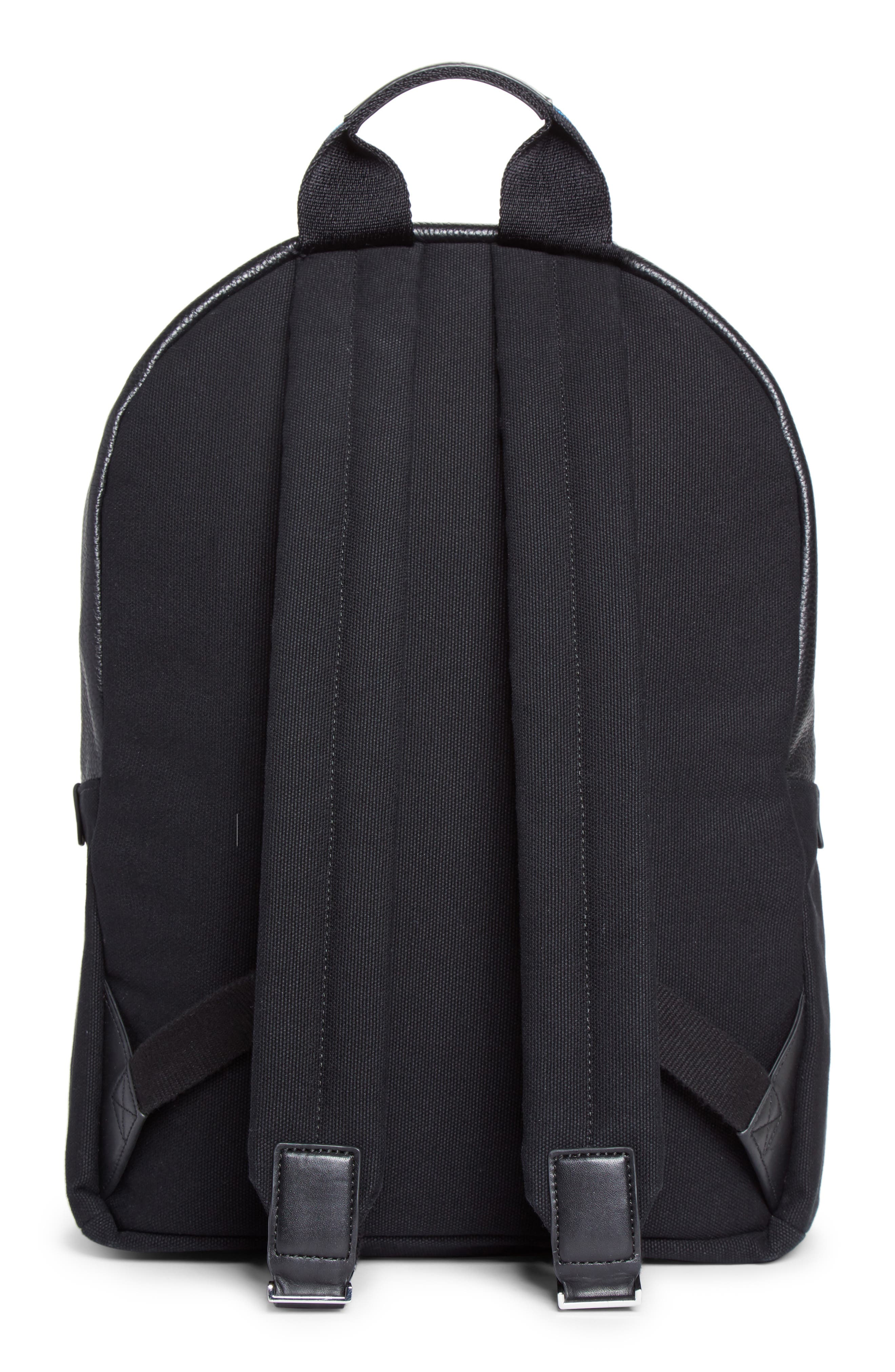 Leather Trim Canvas Backpack,                             Alternate thumbnail 2, color,                             001