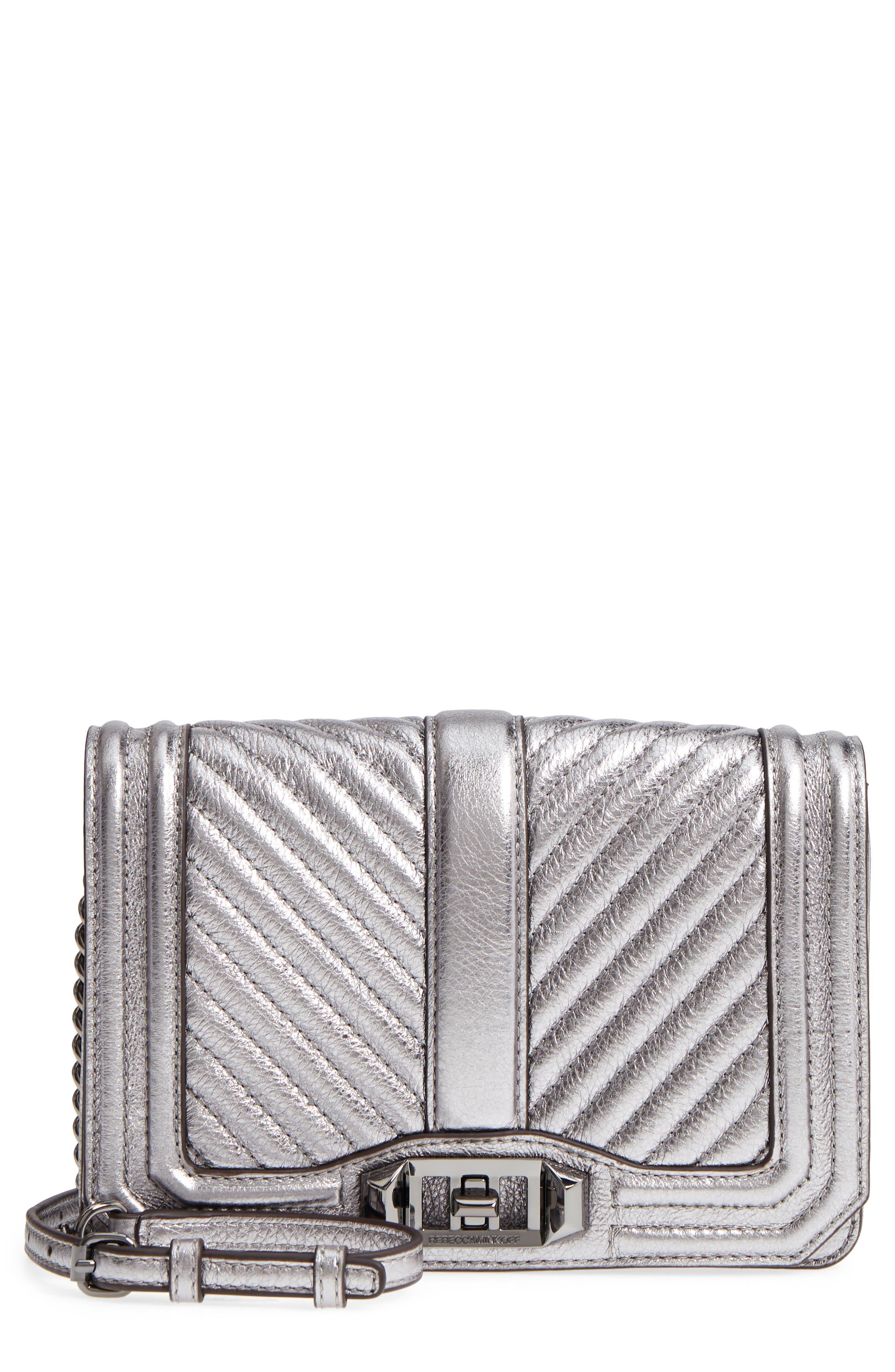 Small Love Metallic Leather Crossbody Bag,                         Main,                         color,
