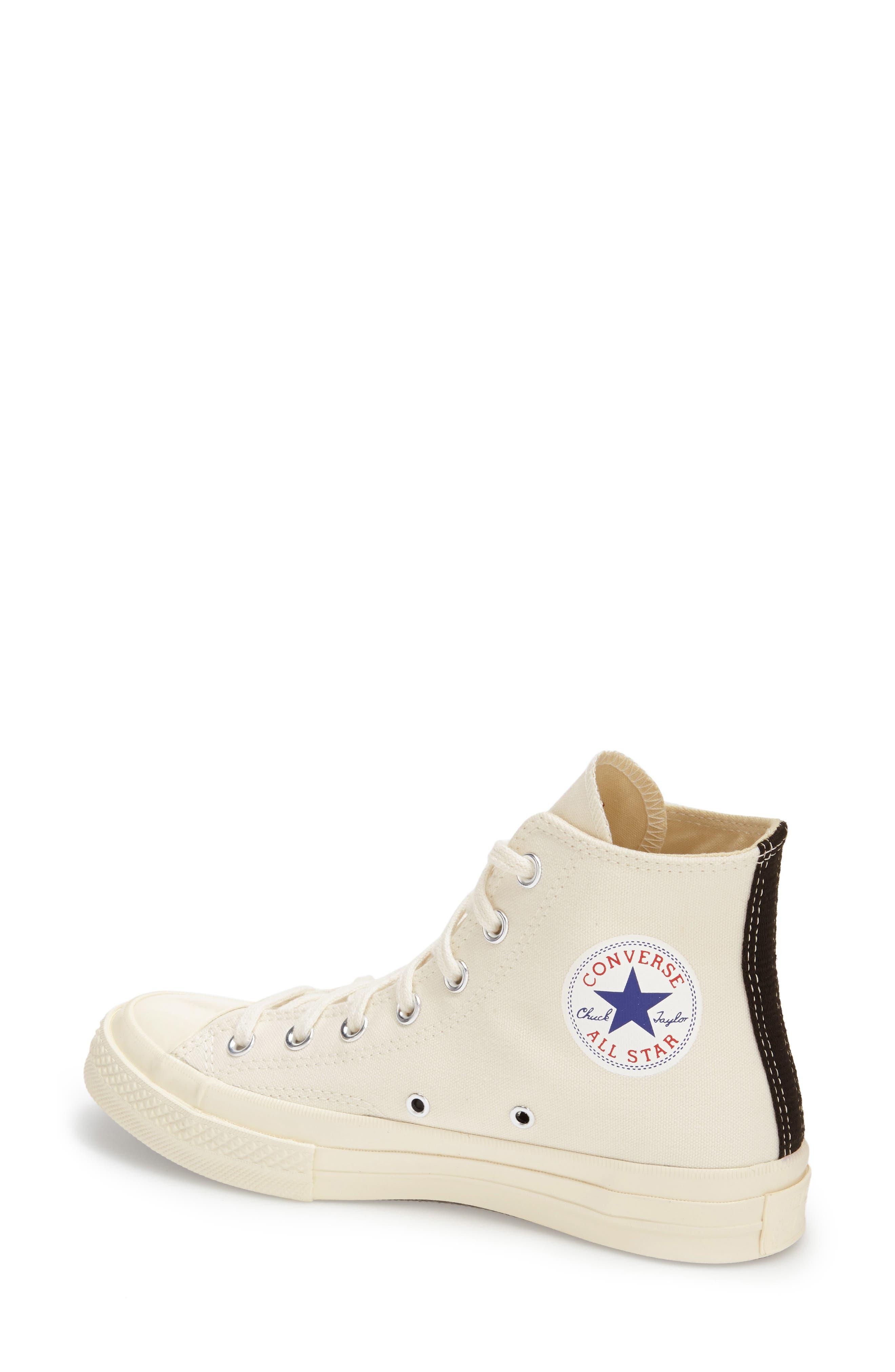 PLAYx Converse Chuck Taylor<sup>®</sup> - Hidden Heart High TopSneaker,                             Alternate thumbnail 2, color,                             WHITE CANVAS