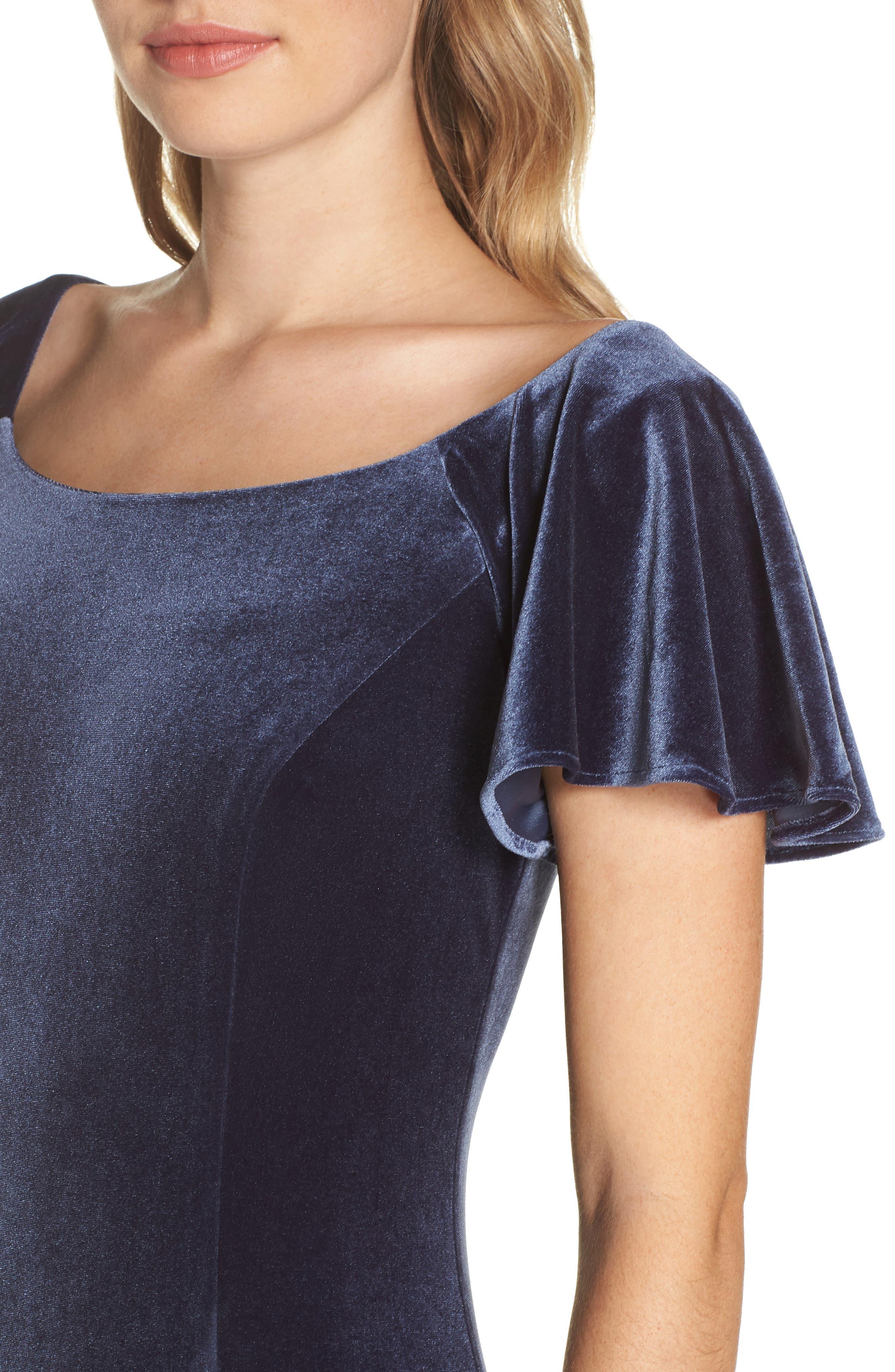 Scoop Neck Flutter Sleeve Velvet Sheath Dress,                             Alternate thumbnail 4, color,                             BLUE STEEL