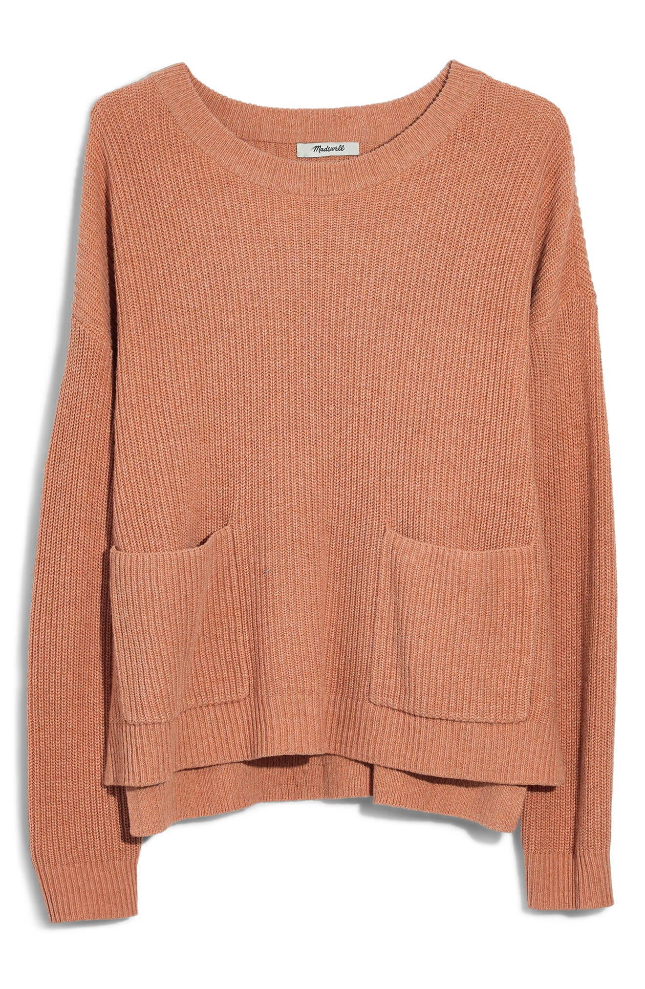 Patch Pocket Pullover Sweater,                             Main thumbnail 1, color,                             HEATHER ROSEWATER