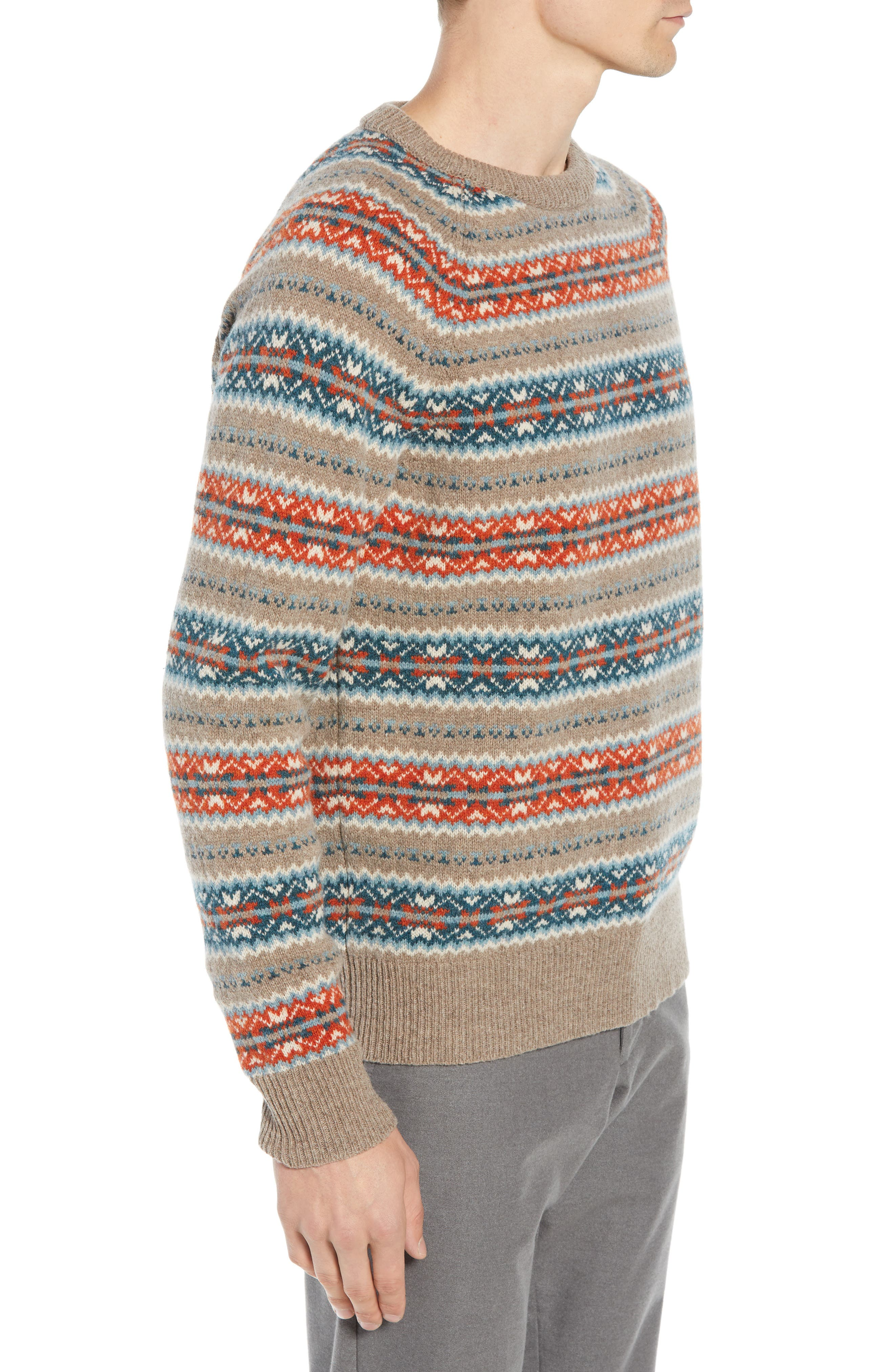 Fair Isle Lambswool Sweater,                             Alternate thumbnail 3, color,                             ASH