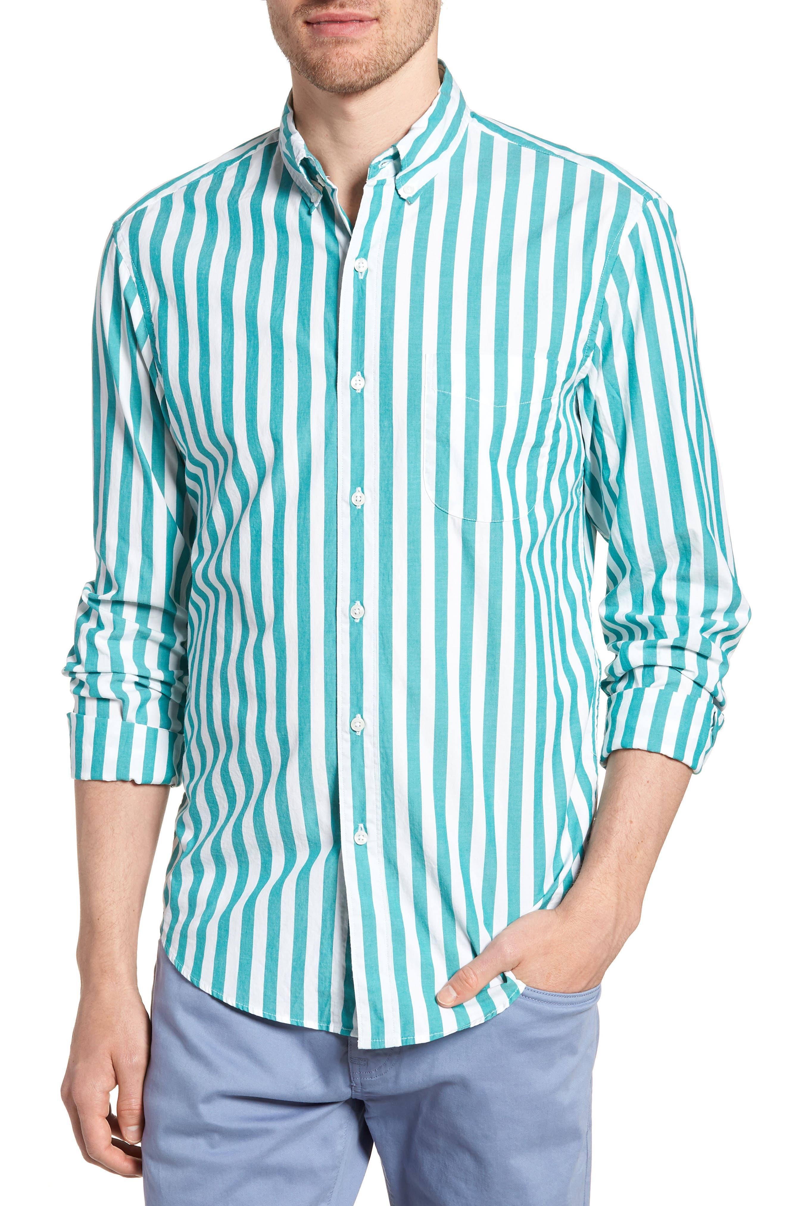 Slim Fit Stretch Secret Wash Stripe Sport Shirt,                         Main,                         color, 400