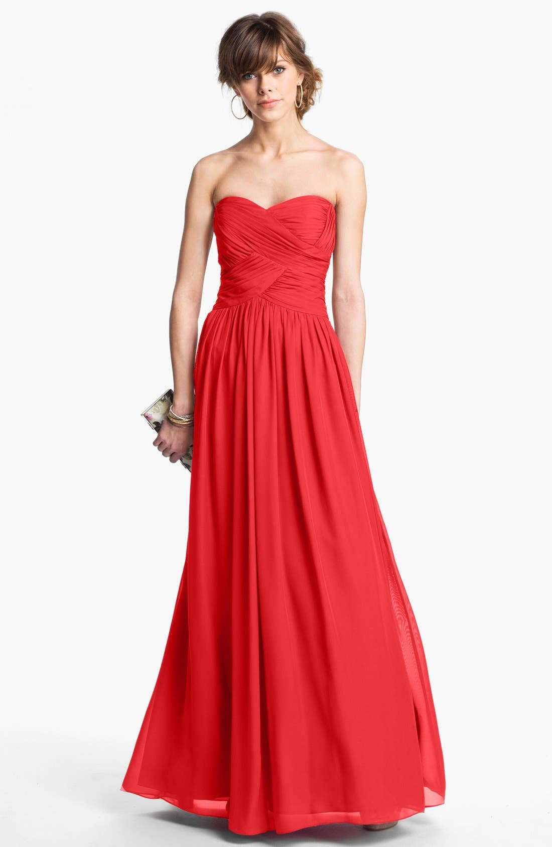 Strapless Ruched Chiffon Gown,                             Main thumbnail 7, color,