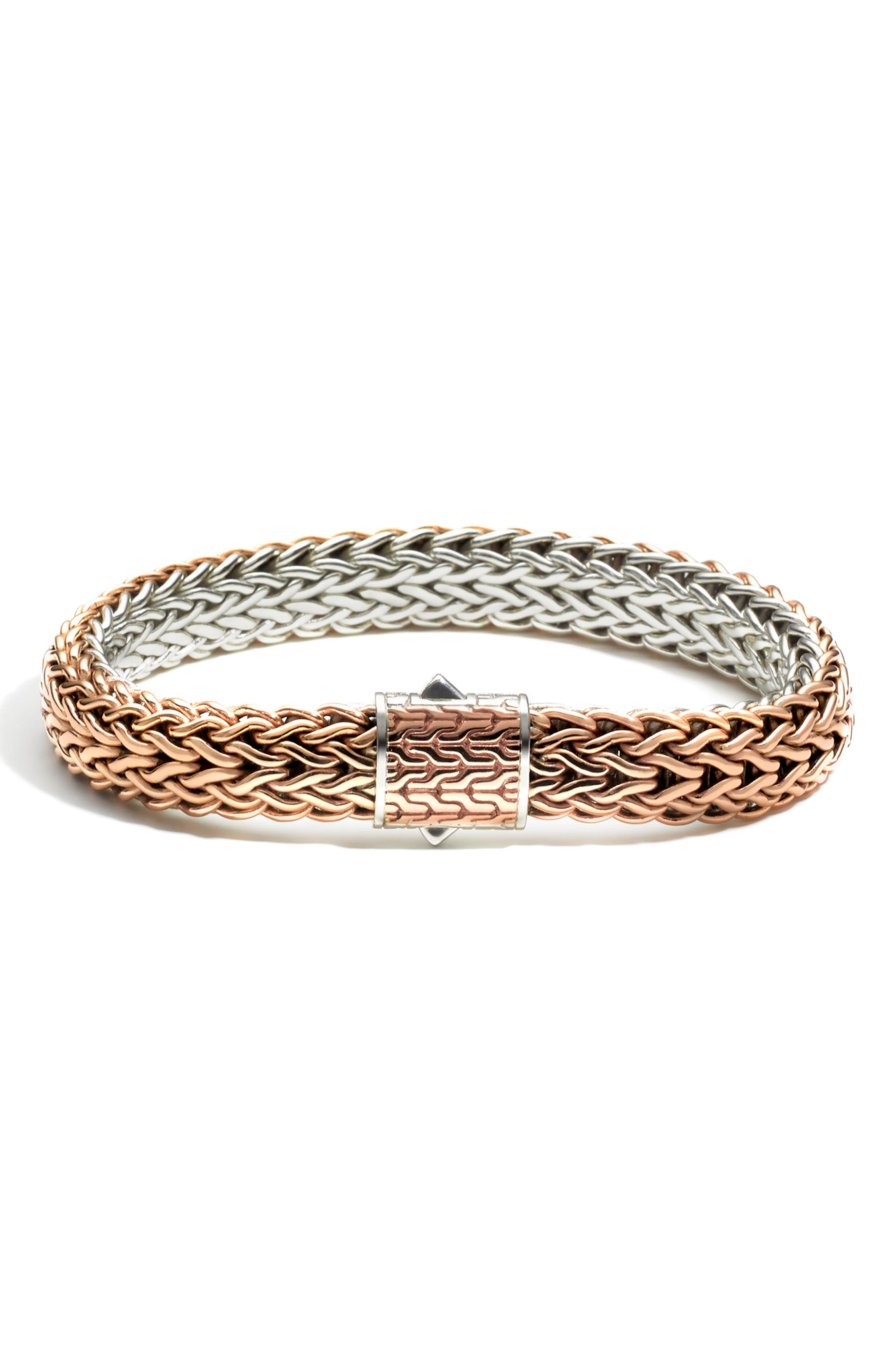 Classic Chain Flat Chain Reversible Bracelet,                         Main,                         color, BRONZE/ SILVER