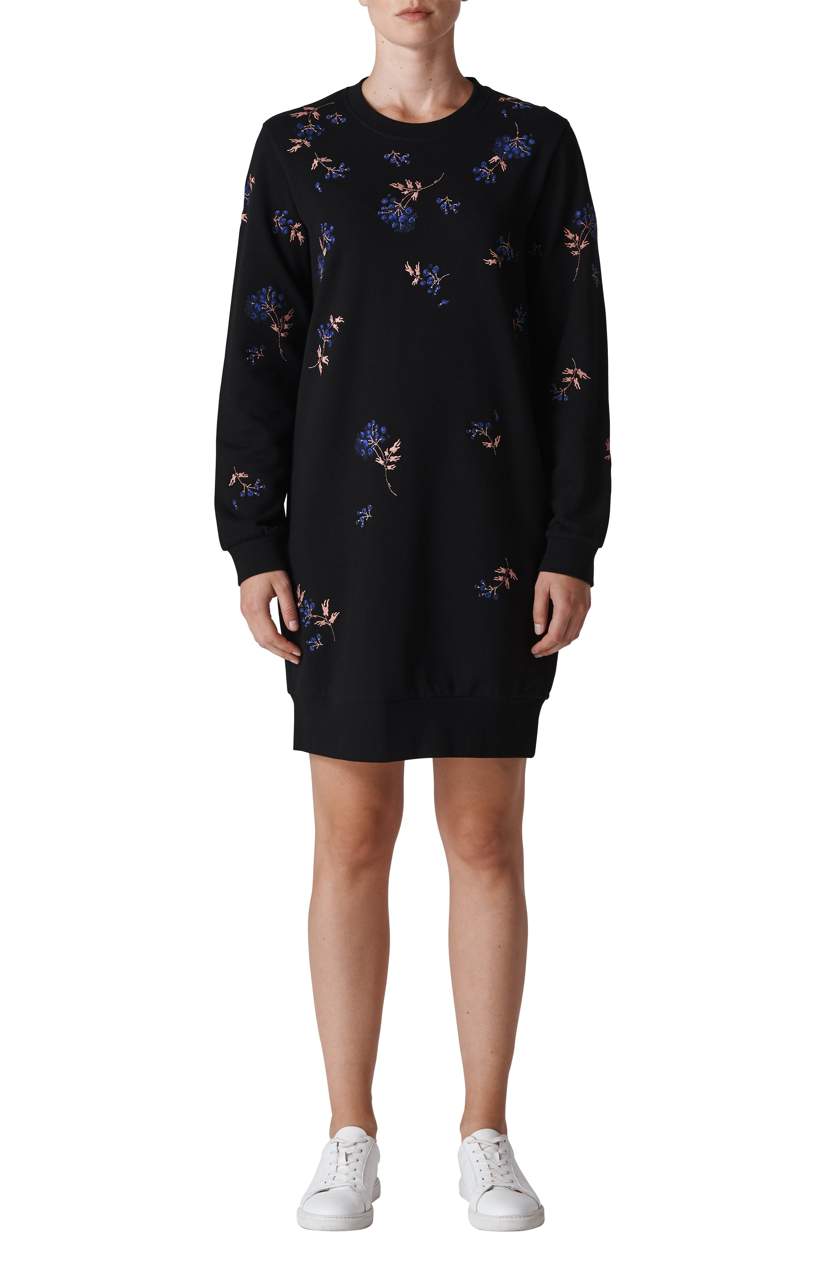 Elderberry Embroidered Sweatshirt Dress,                             Main thumbnail 1, color,                             001