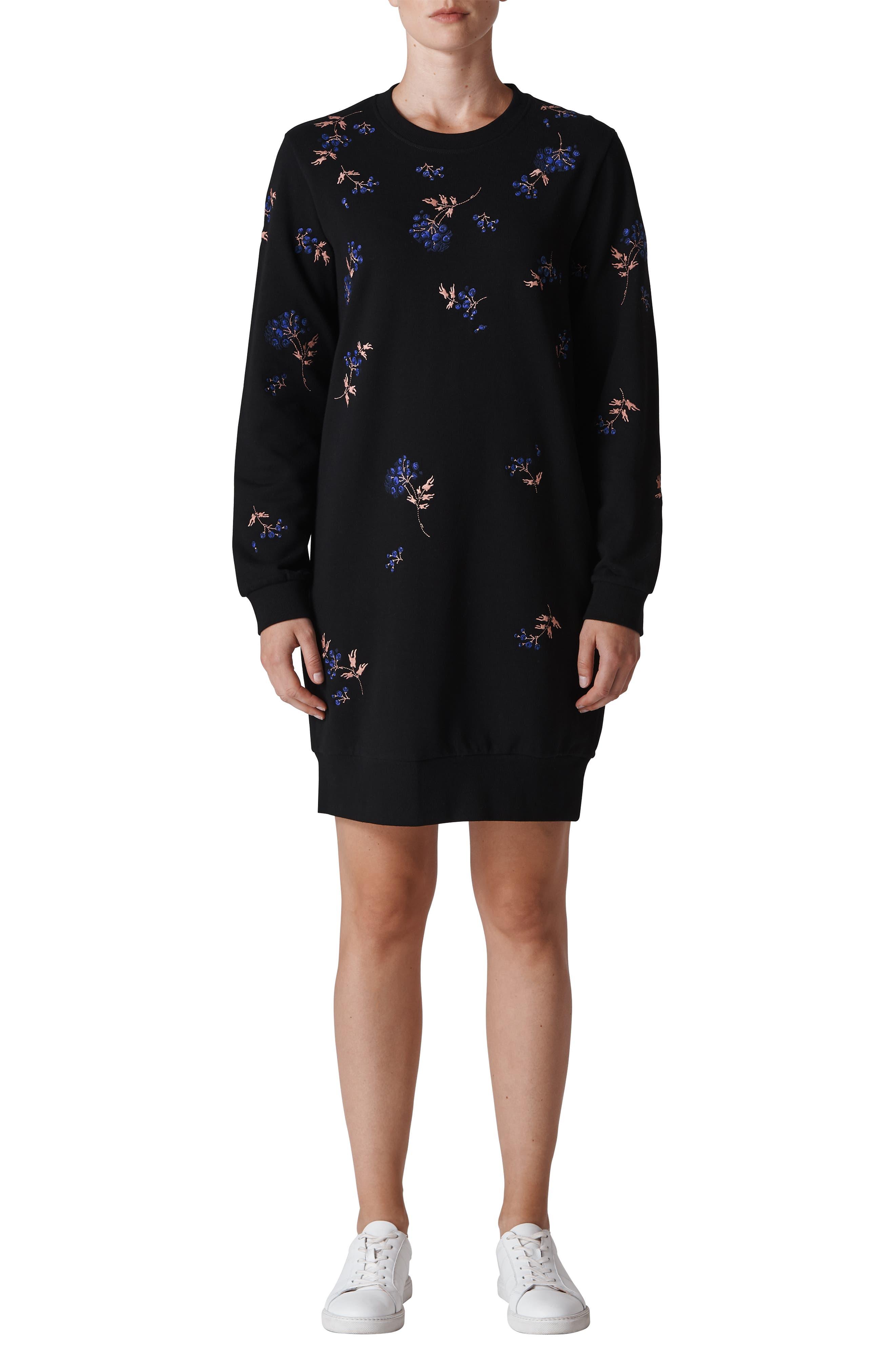 Elderberry Embroidered Sweatshirt Dress,                         Main,                         color, MULTI COLOR