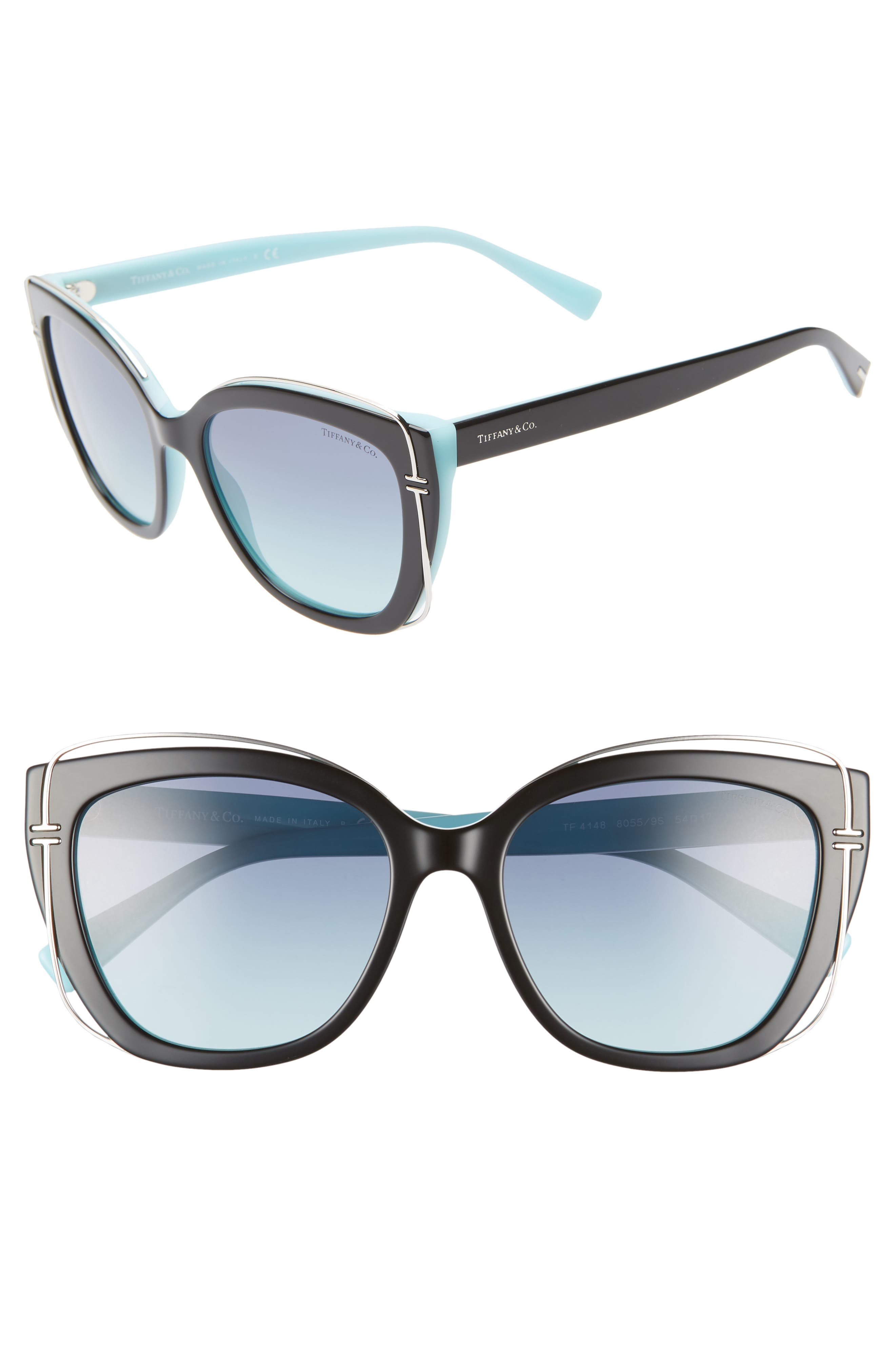 54mm Gradient Cat Eye Sunglasses,                             Main thumbnail 1, color,                             BLACK/ BLUE GRADIENT