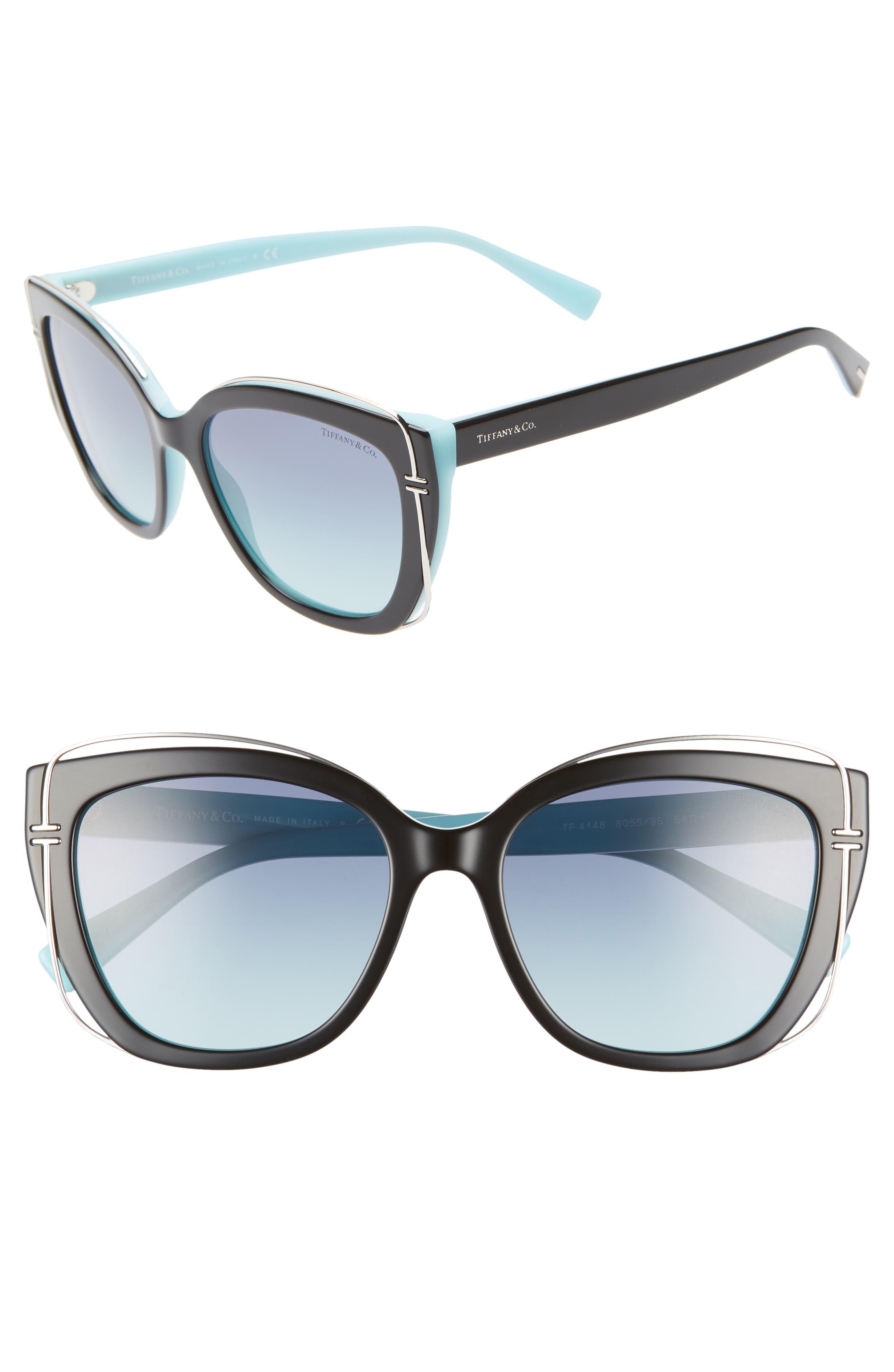 54mm Gradient Cat Eye Sunglasses,                         Main,                         color, BLACK/ BLUE GRADIENT