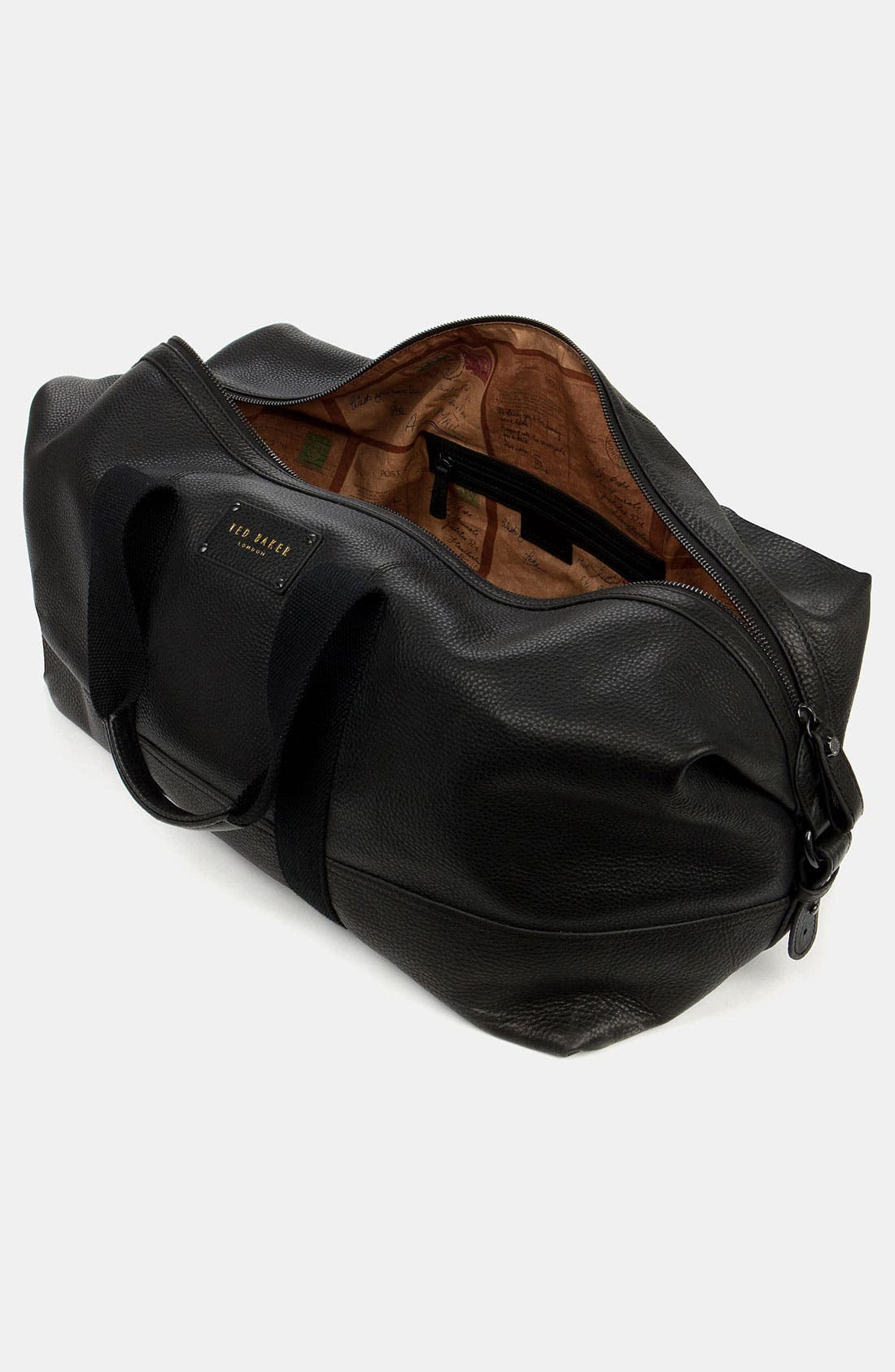 Leather Duffel Bag,                             Alternate thumbnail 3, color,