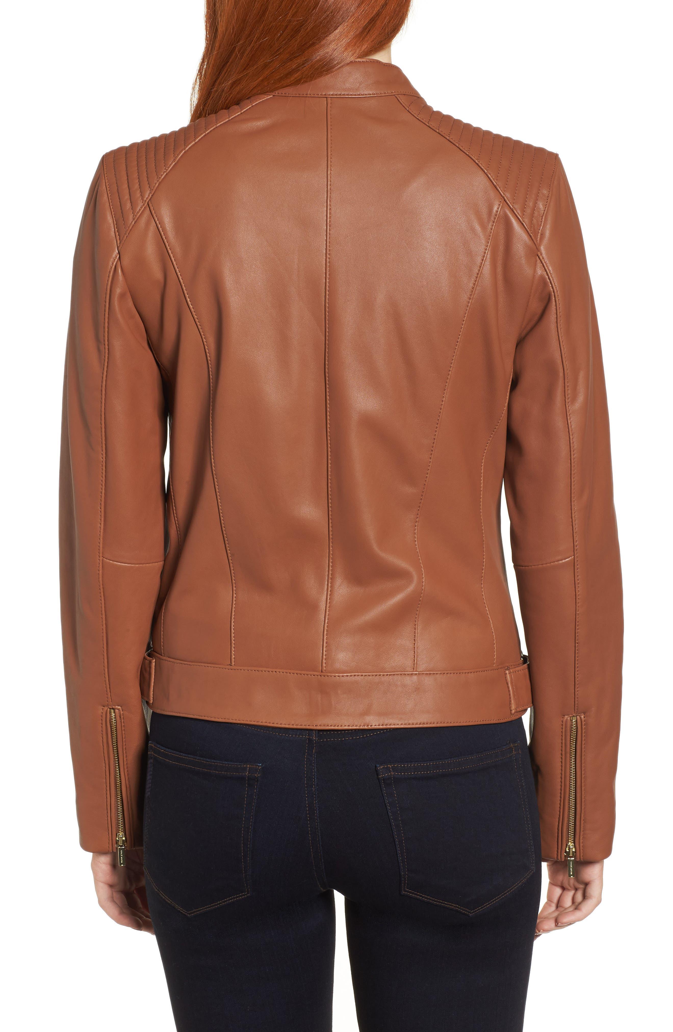 Leather Moto Jacket,                             Alternate thumbnail 2, color,                             NO_COLOR