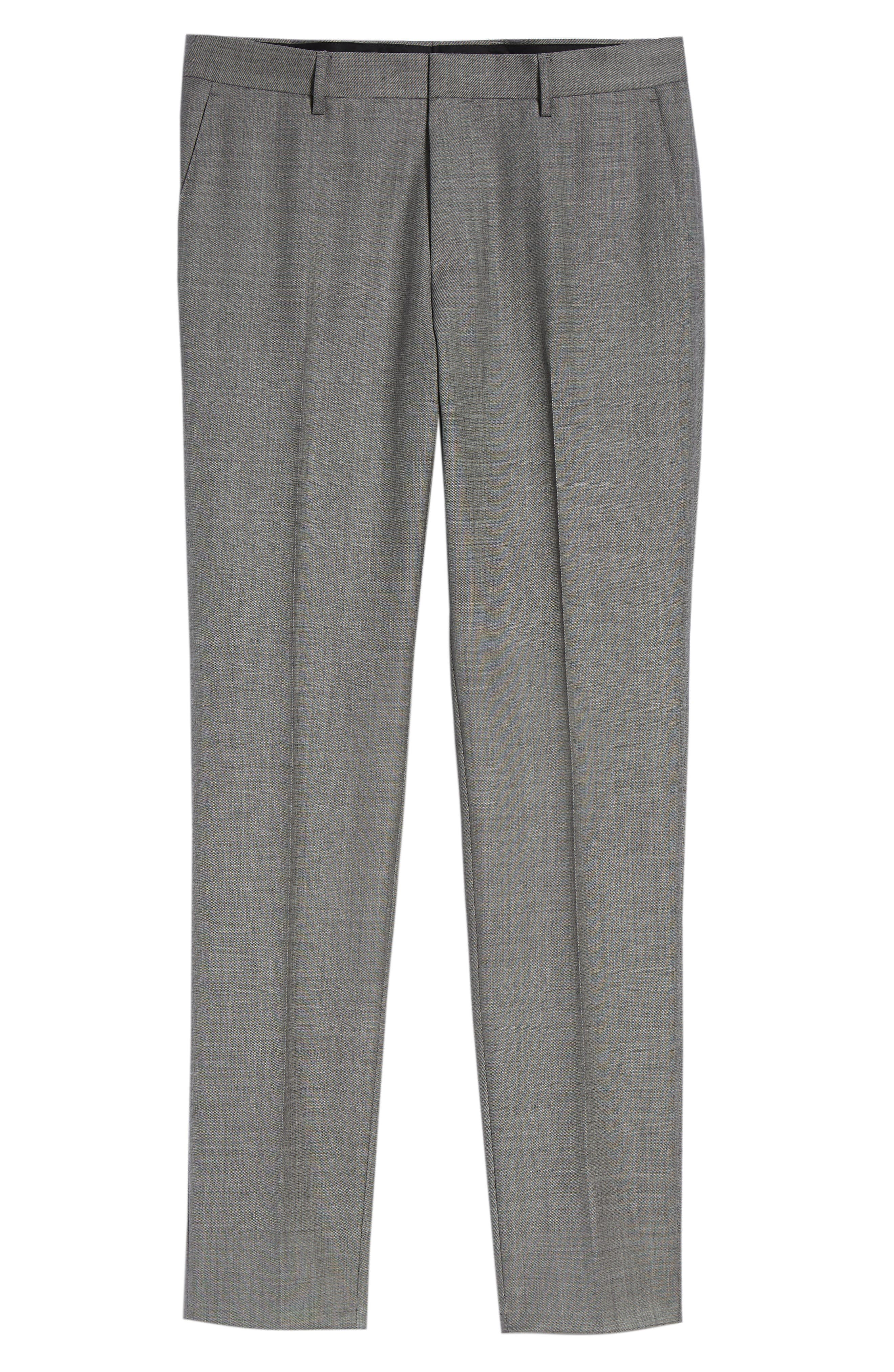 Genesis Flat Front Solid Wool Trousers,                             Alternate thumbnail 6, color,                             GREY