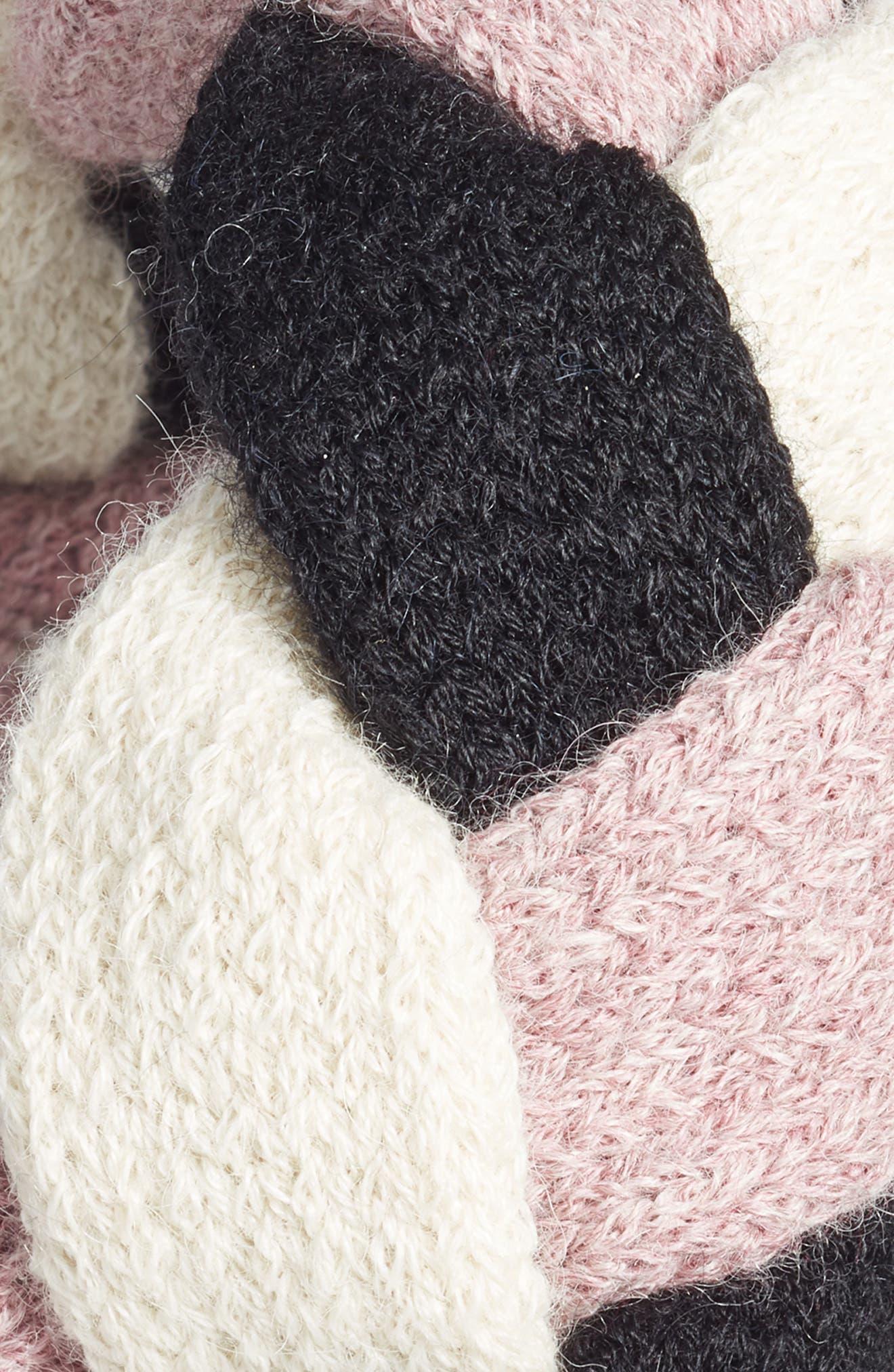 Ann Alpaca Braided Headband,                             Alternate thumbnail 2, color,                             BLACK/ WHITE/ ROSE