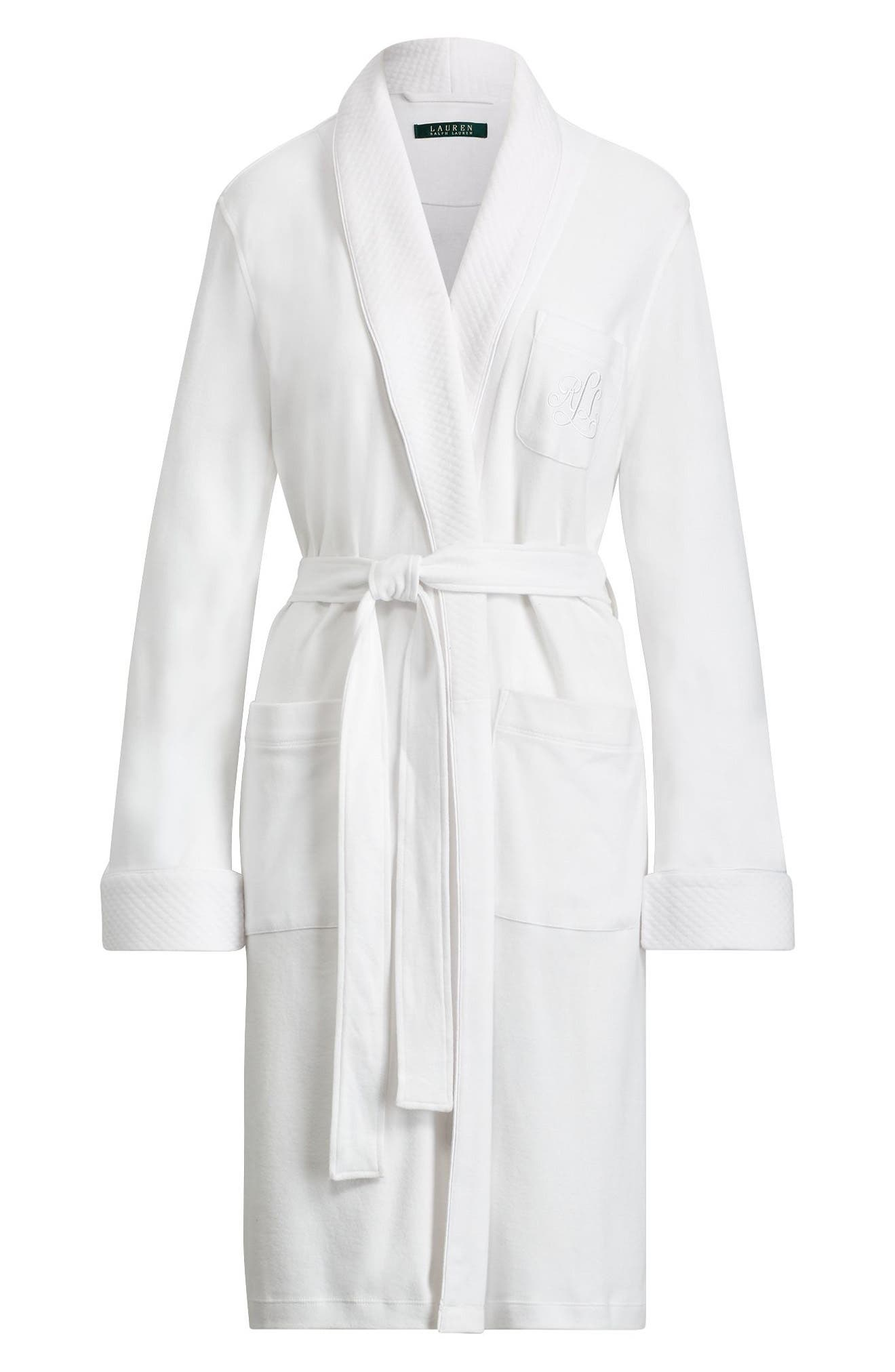 Quilted Collar Robe,                             Alternate thumbnail 4, color,                             WHITE