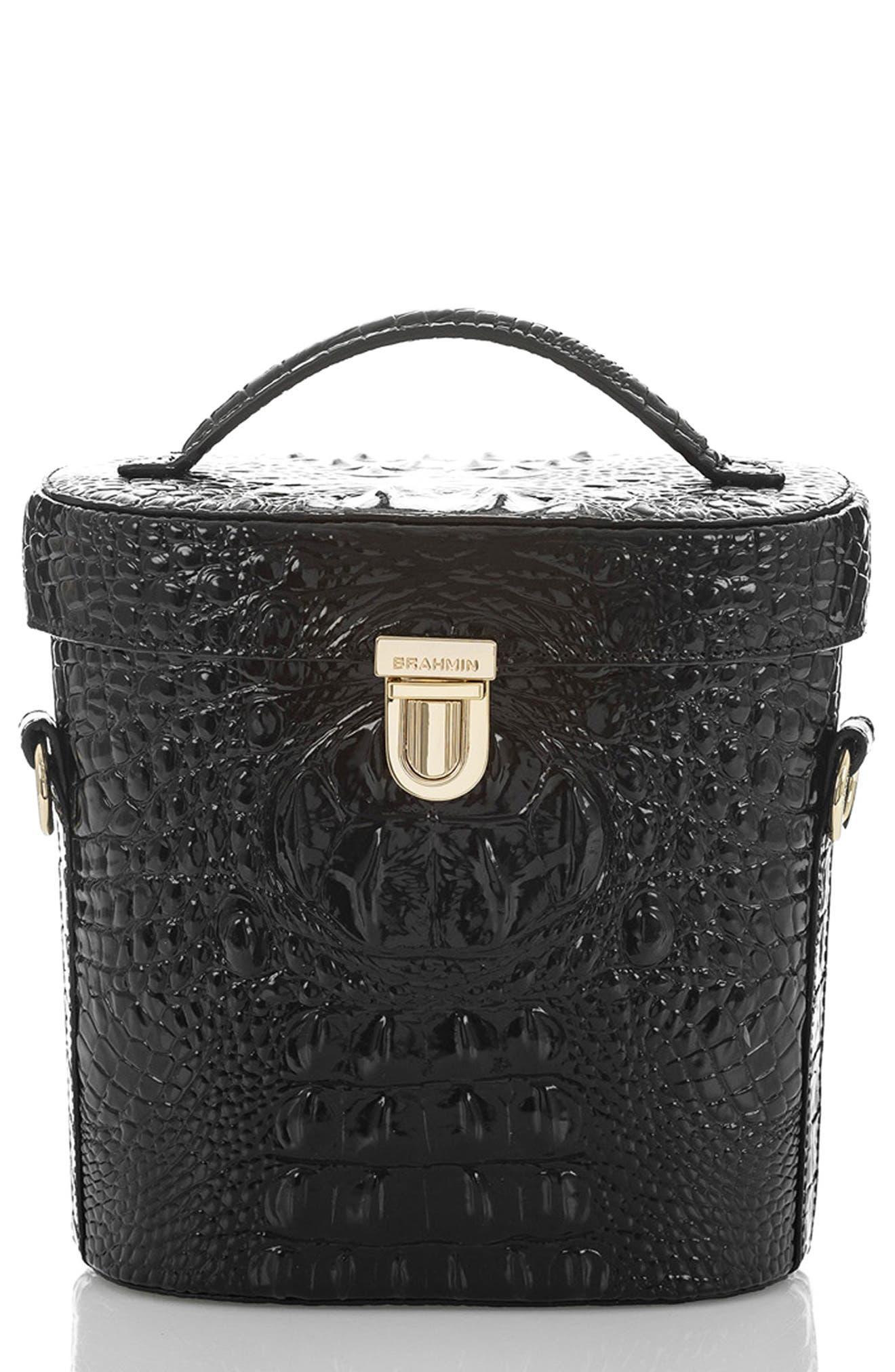 Pipp Croc Embossed Leather Top Handle Bag,                             Main thumbnail 1, color,                             BLACK MEMBOURNE