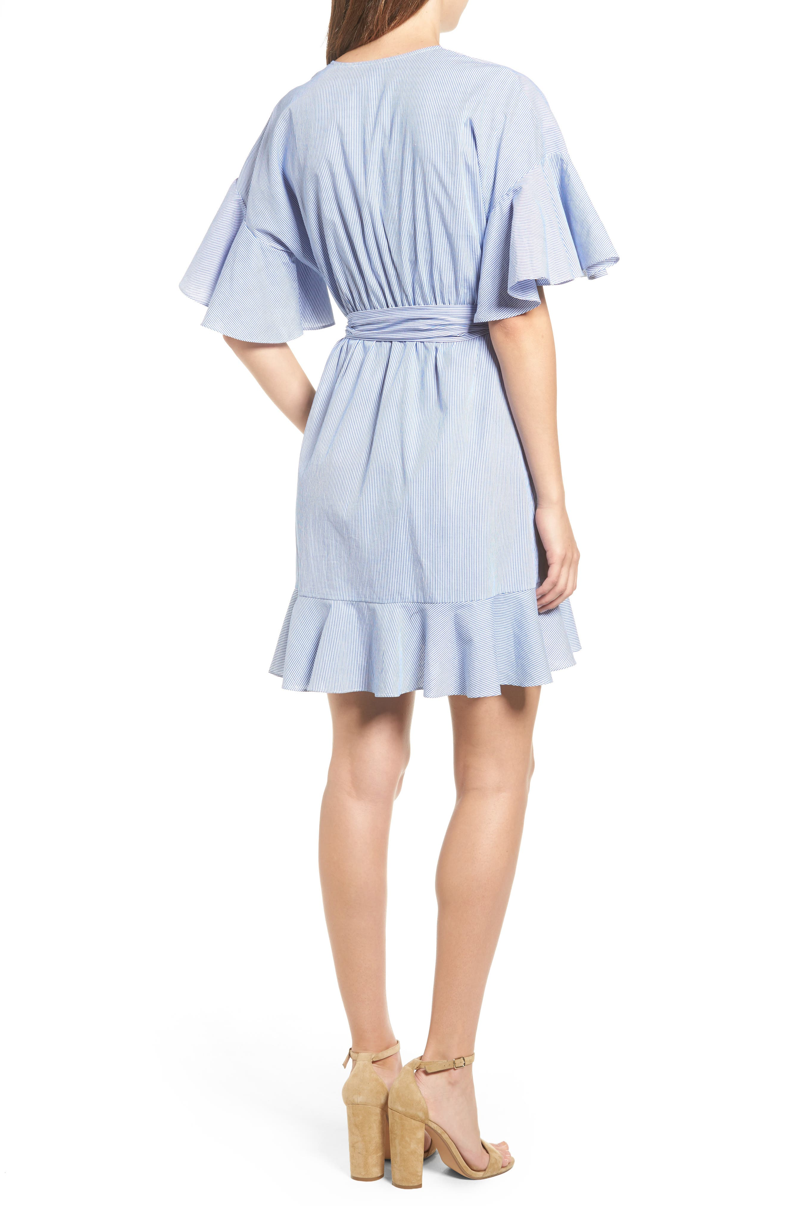 Stripe Wrap Dress,                             Alternate thumbnail 2, color,                             400