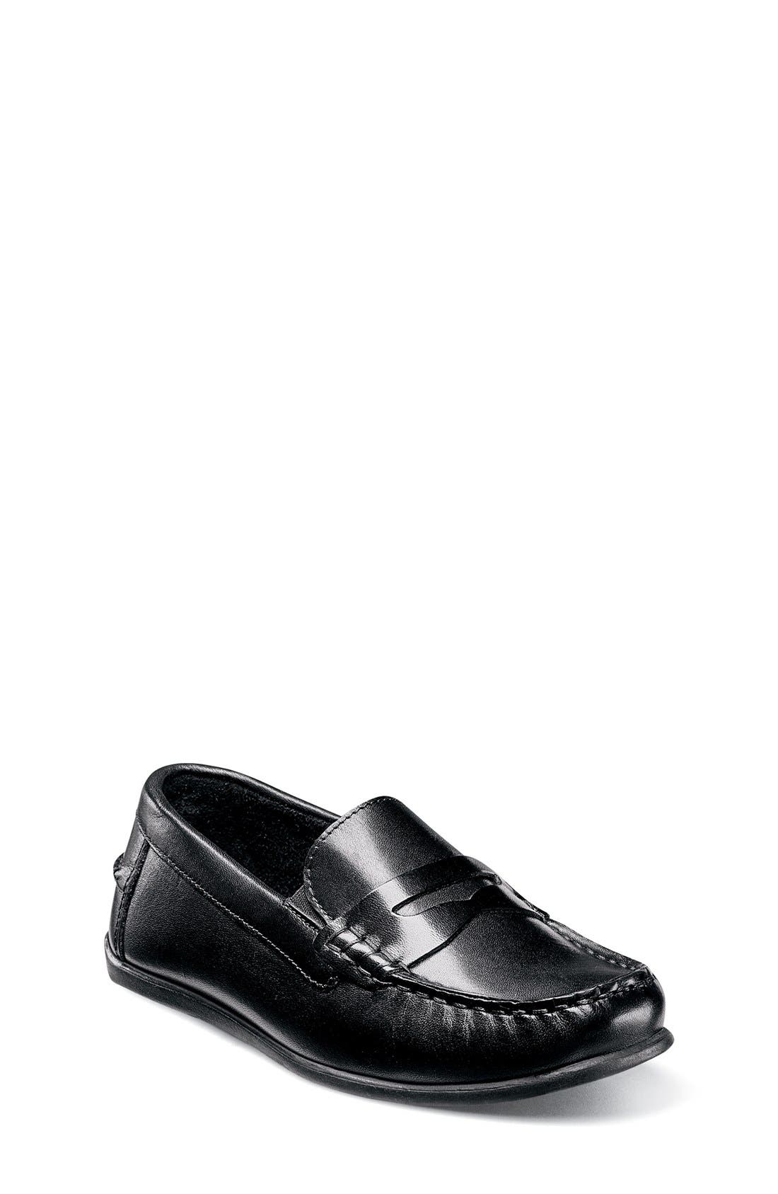 'Jasper - Driver Jr.' Loafer,                             Main thumbnail 1, color,                             BLACK LEATHER
