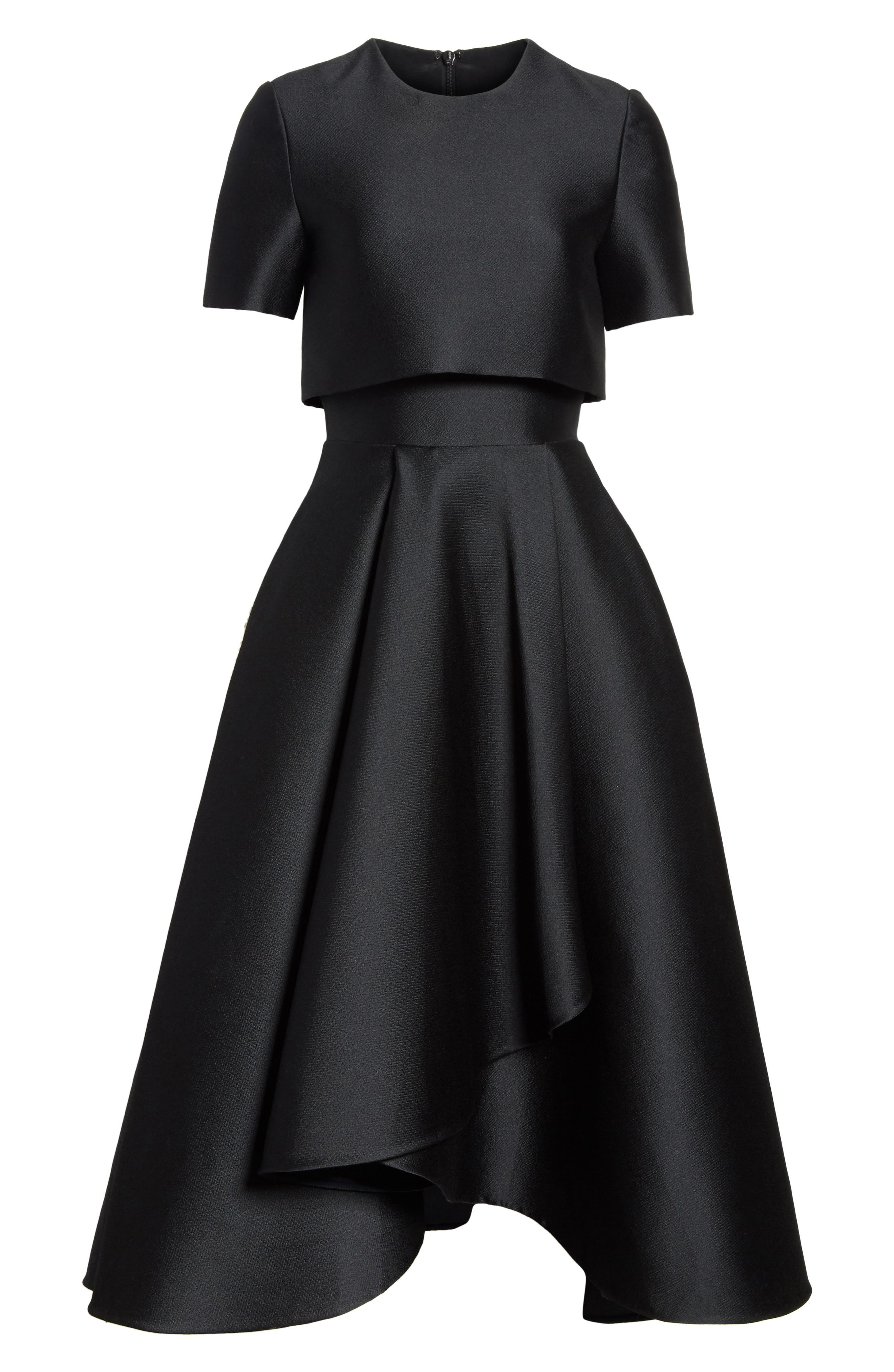 Popover Fit & Flare Dress,                             Alternate thumbnail 6, color,                             001