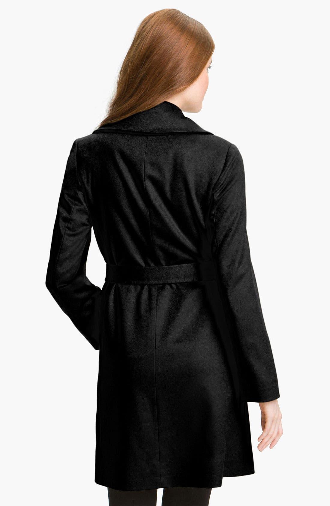 Lightweight Cashmere Wrap Coat,                             Alternate thumbnail 2, color,                             001