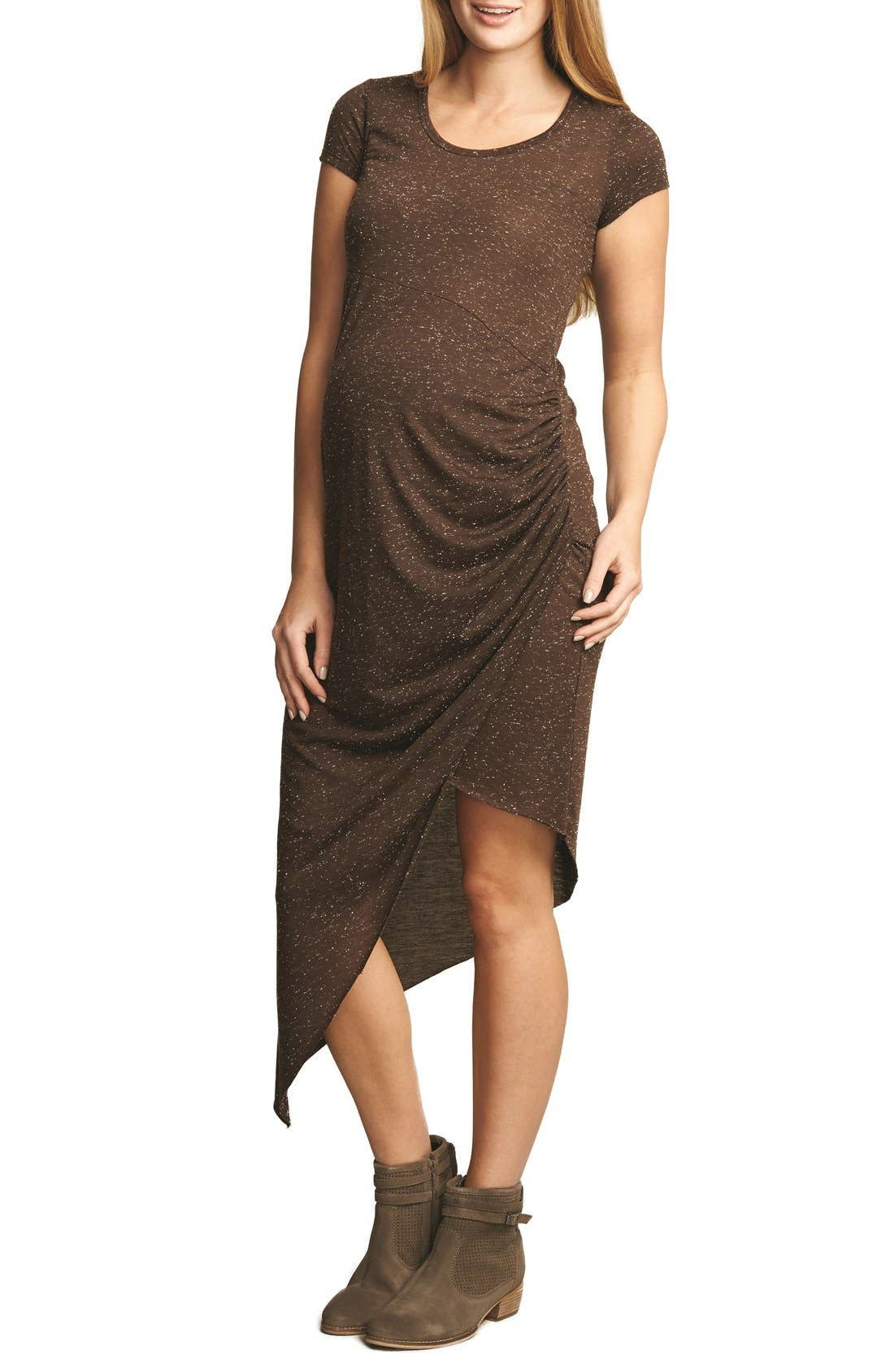 Draped Maternity Dress,                         Main,                         color, BROWN PEBBLE