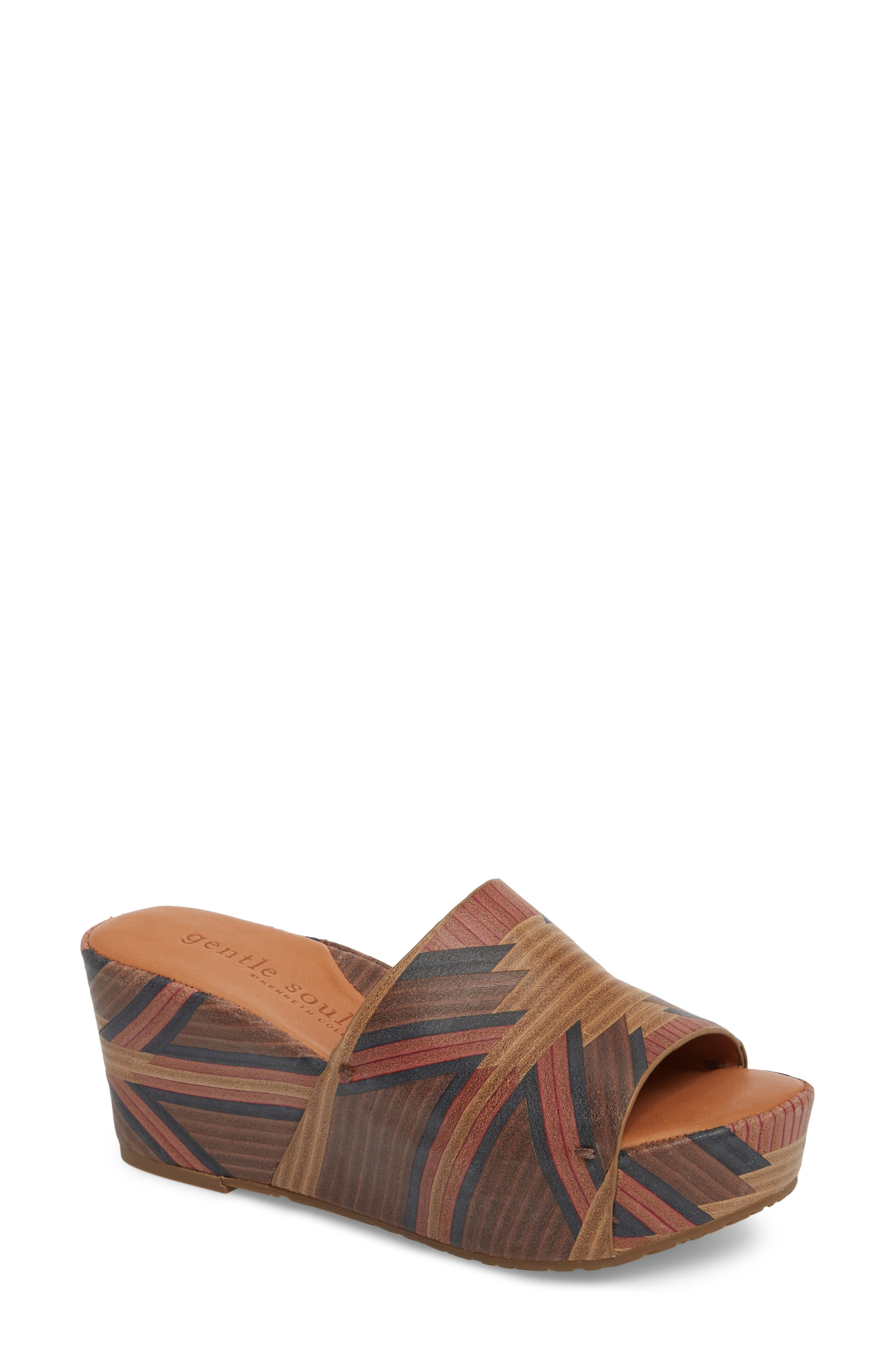 by Kenneth Cole Forella Slide Sandal,                             Main thumbnail 1, color,                             BROWN MULTI LEATHER